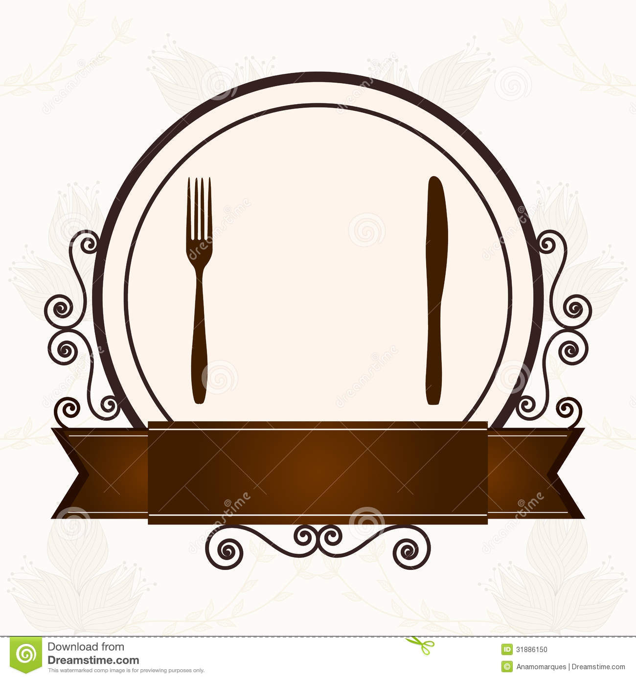 luxury menu with cutlery stock photo image 31886150 Free Heart Clip Art damask images clip art free