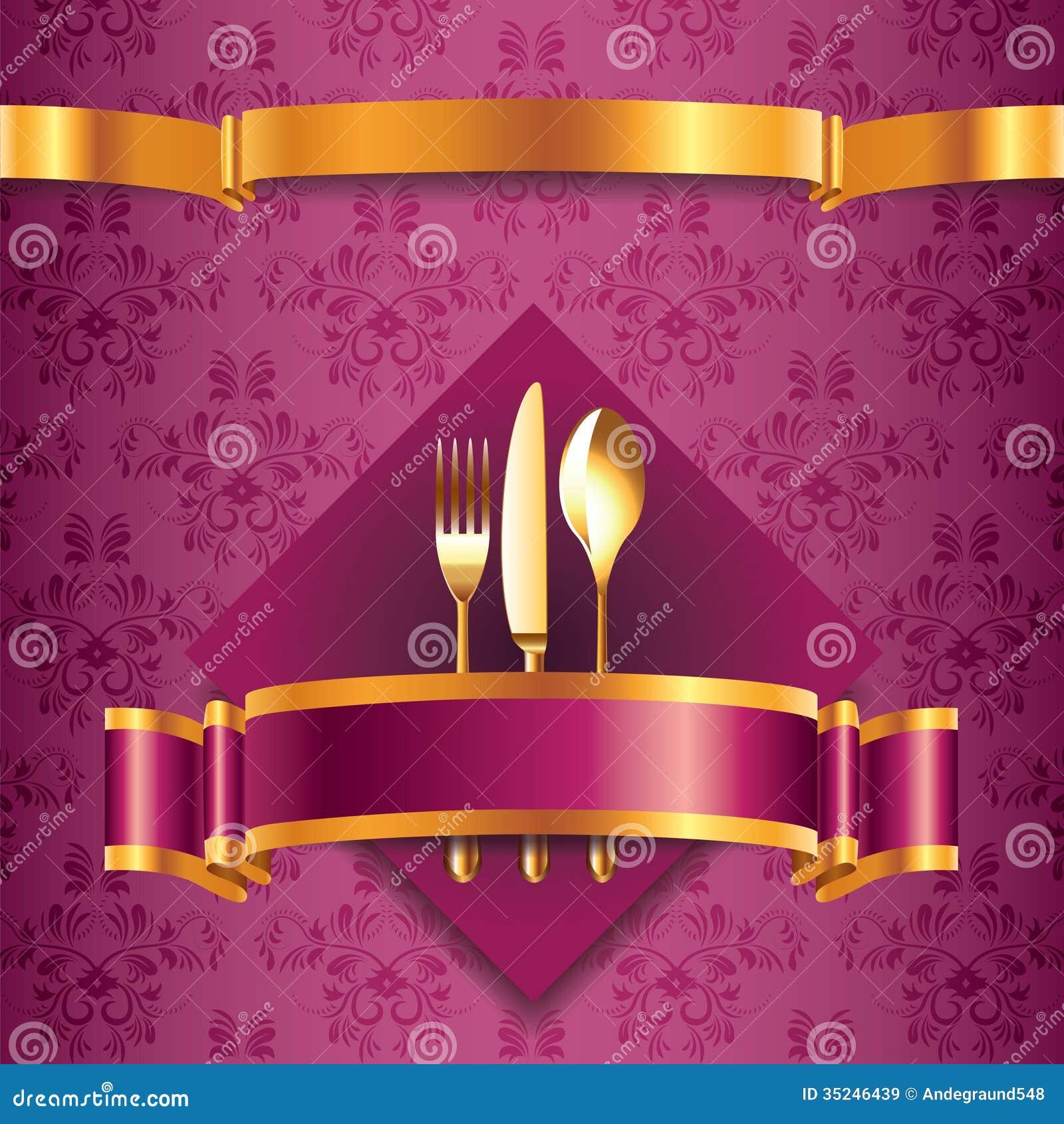 luxury menu template with golden cutlery stock vector