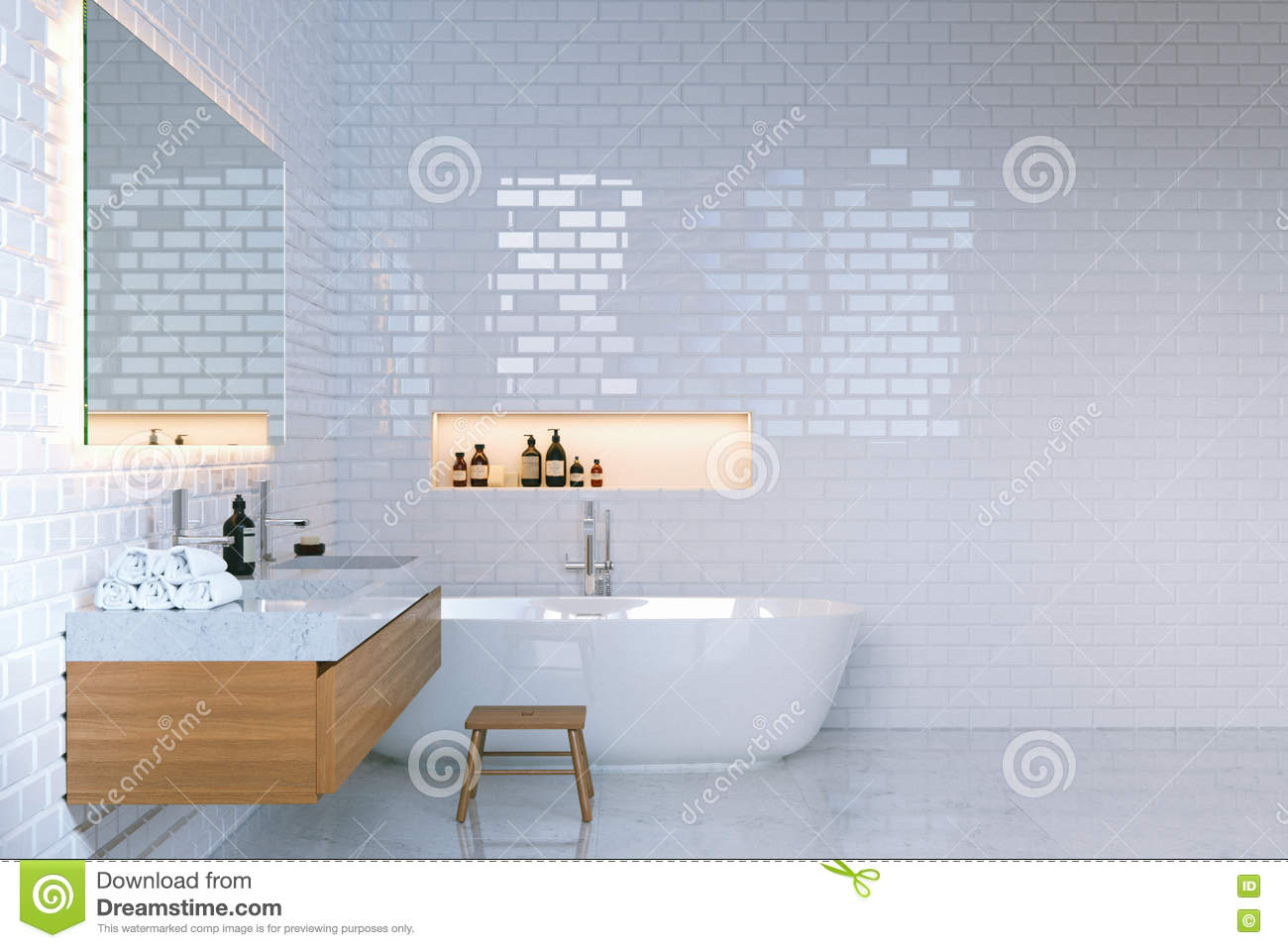 luxury minimalist bathroom interior with brick walls. 3d render