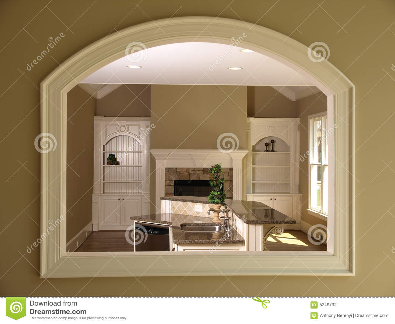 Luxury Model Home Den Opening Stock Photography Image