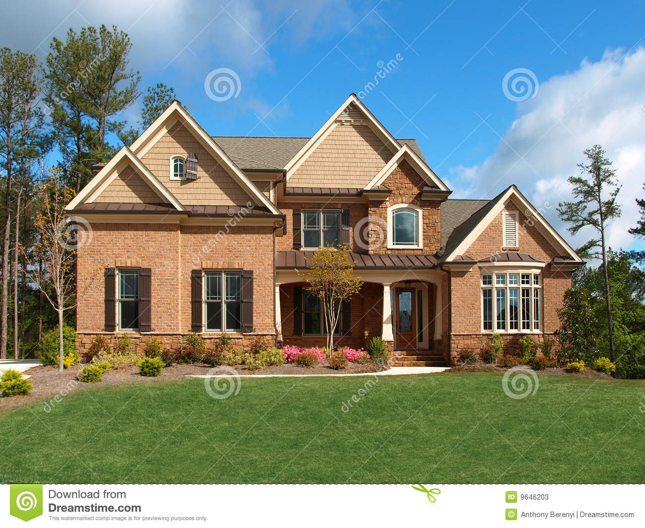 Luxury Model Home Exterior Front View Stock Image Image