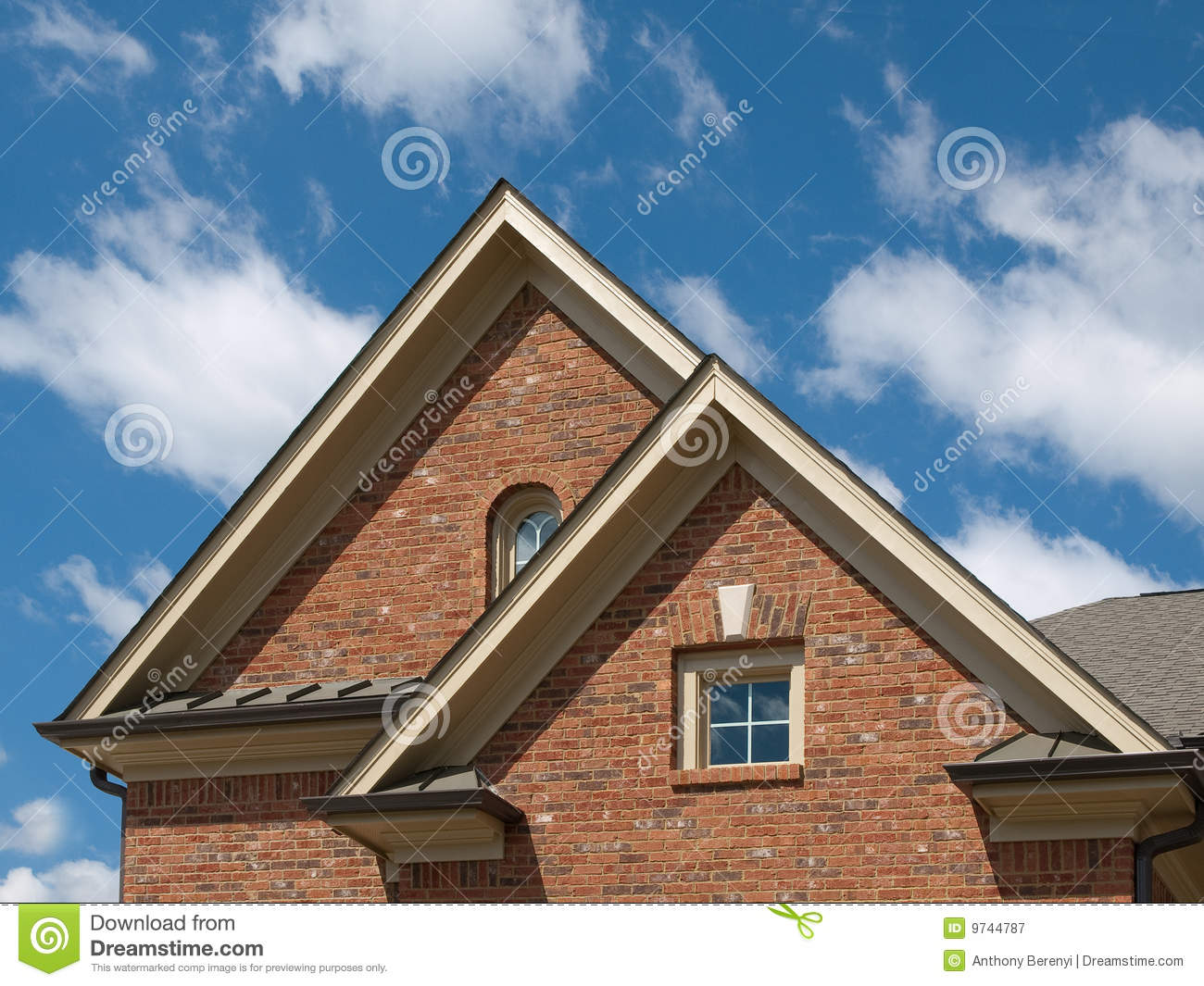 Luxury model home exterior pitch roof window royalty free for Model home exterior photos