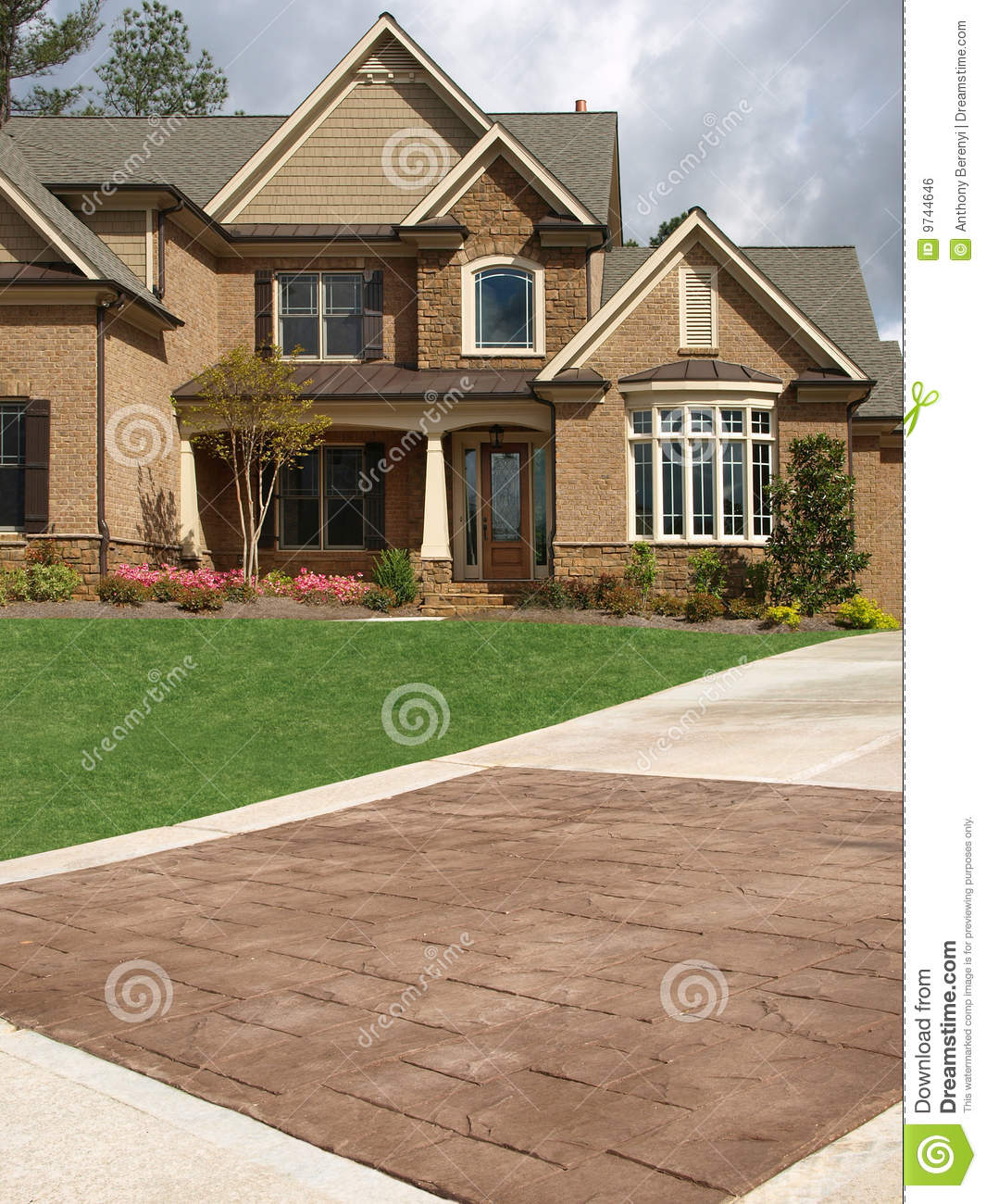 Luxury Marble Exterior House Exterior Designs: Luxury Model Home Exterior Stone Driveway Stock Photo