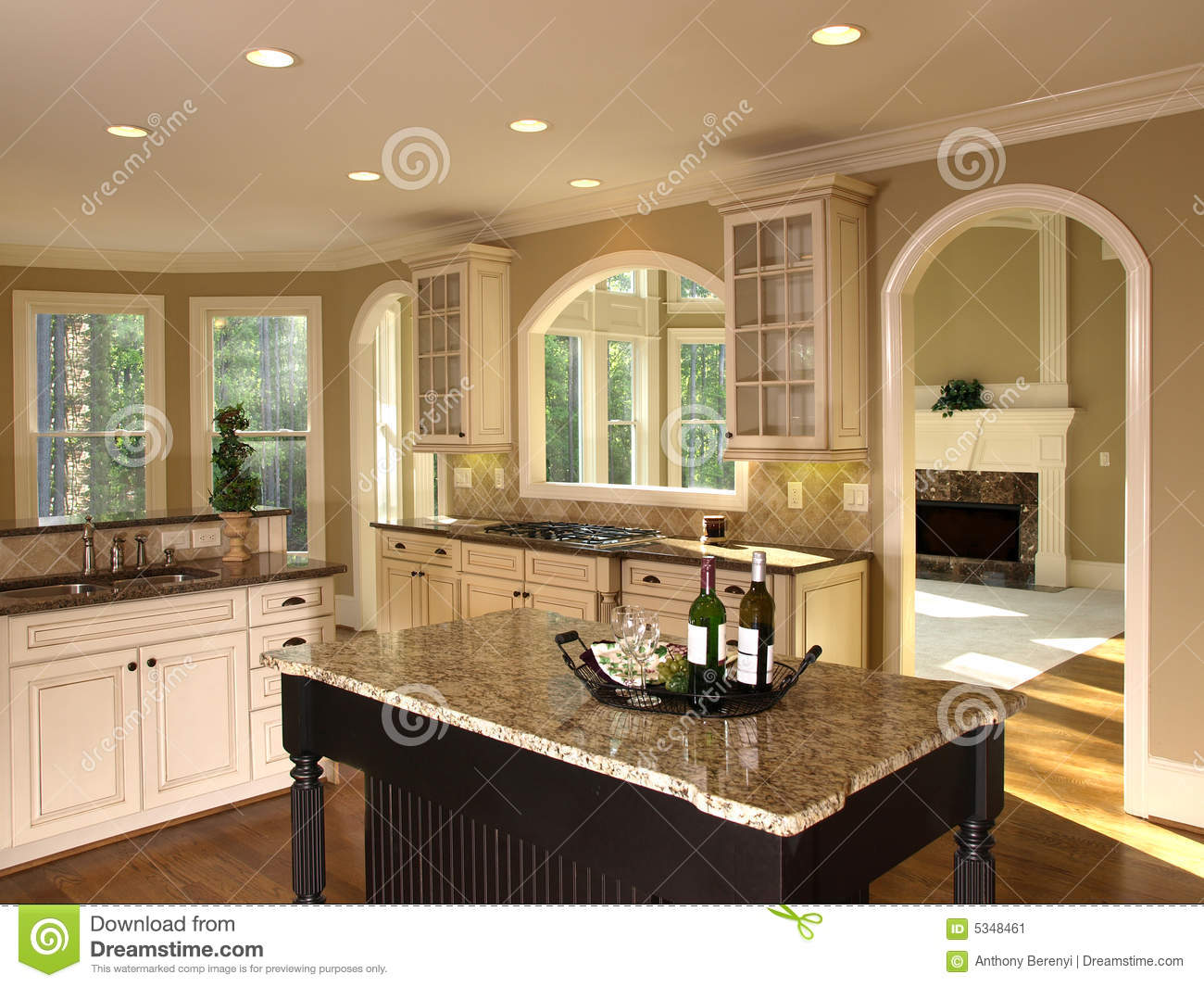 Luxury model home kitchen island stock image image of for Luxury home models