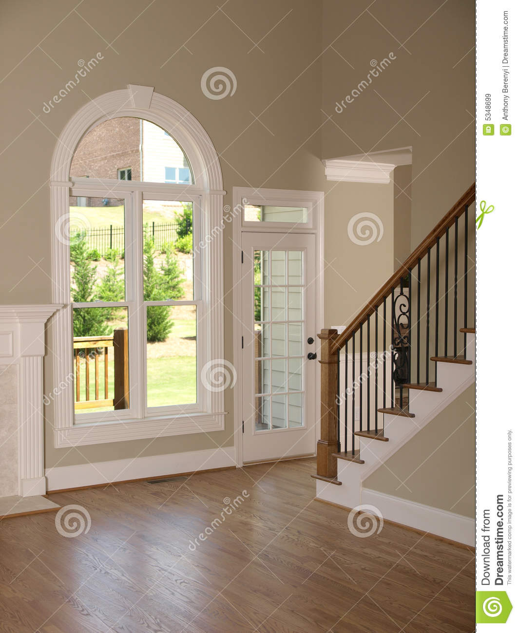 luxury model home living room staircase stock image image of living inside 5348699. Black Bedroom Furniture Sets. Home Design Ideas