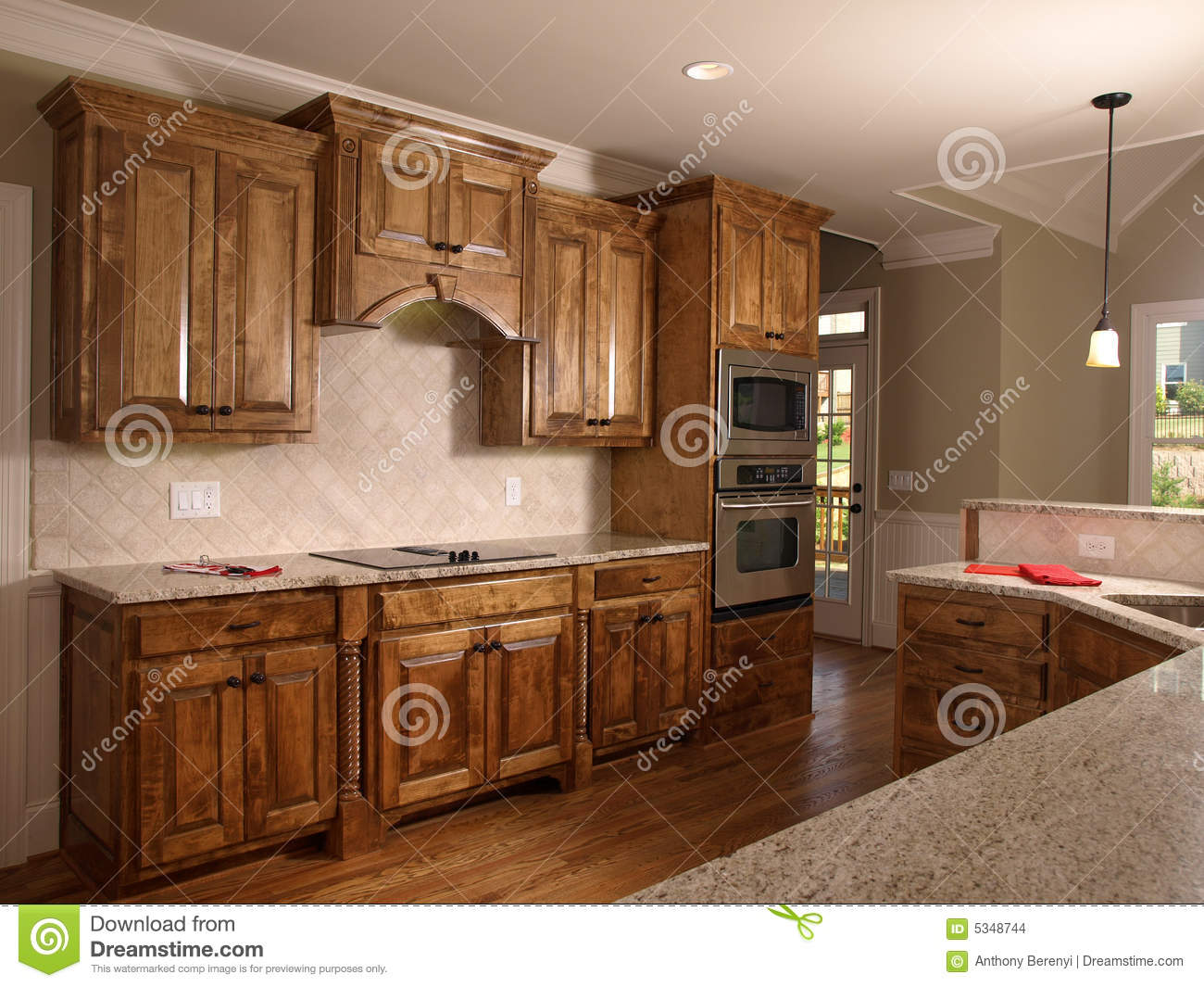 Luxury Model Home Maple Kitchen 2 Stock Images - Image: 5348744