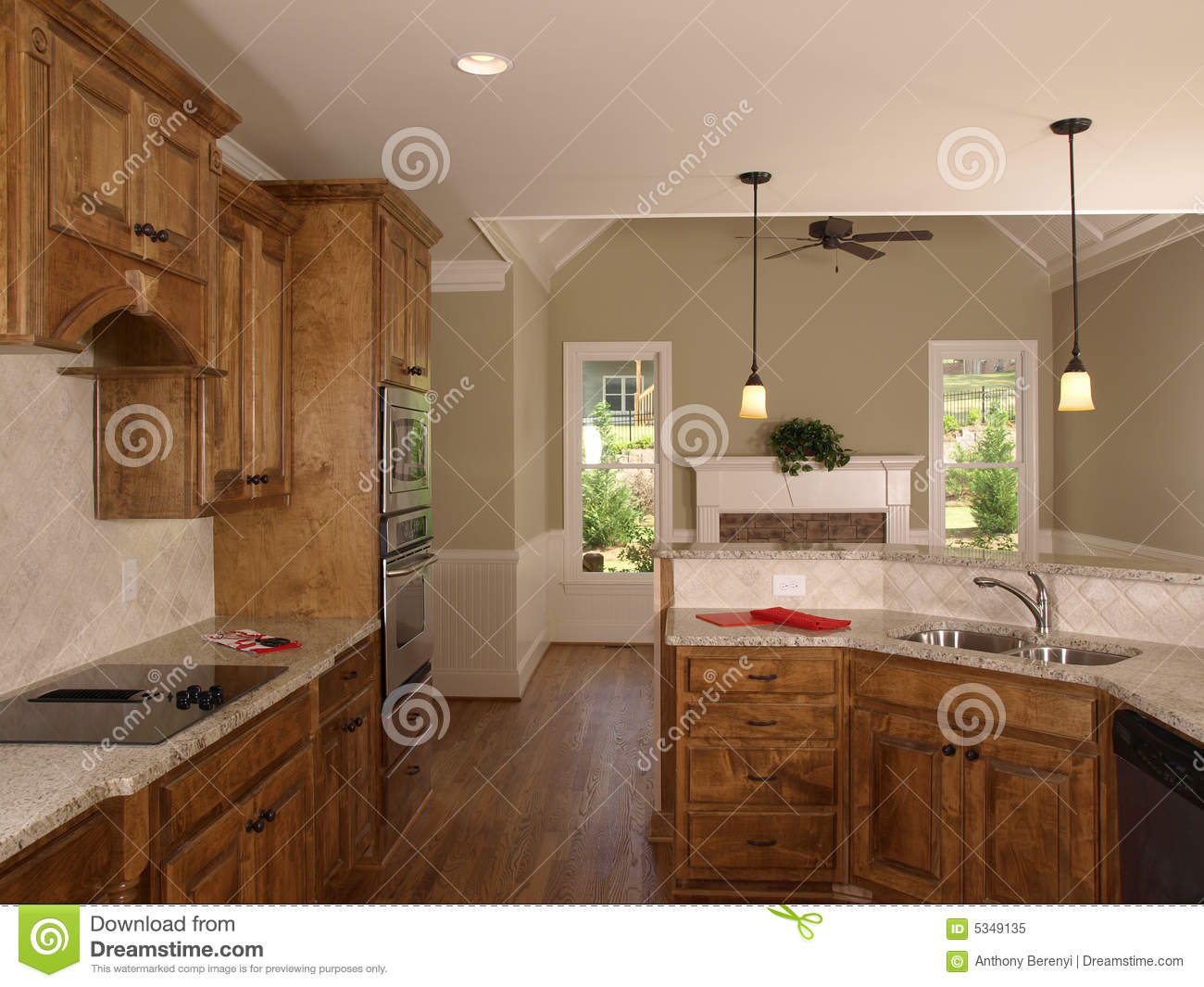 Luxury model home maple kitchen royalty free stock photo for Luxury home models