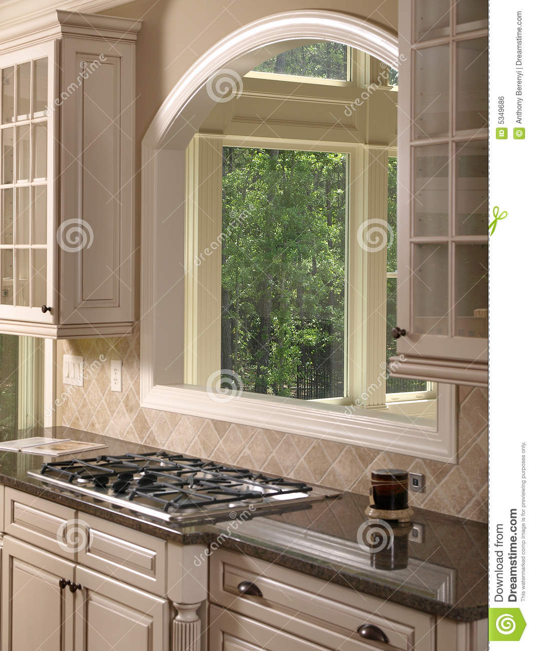 Luxury model home white kitchen 3 stock photo image of for Luxury model homes