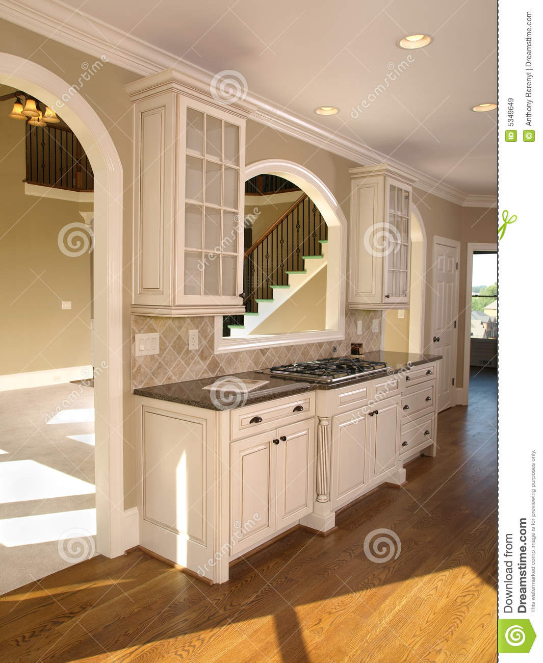 Luxury model home white kitchen royalty free stock images for Model home kitchen images