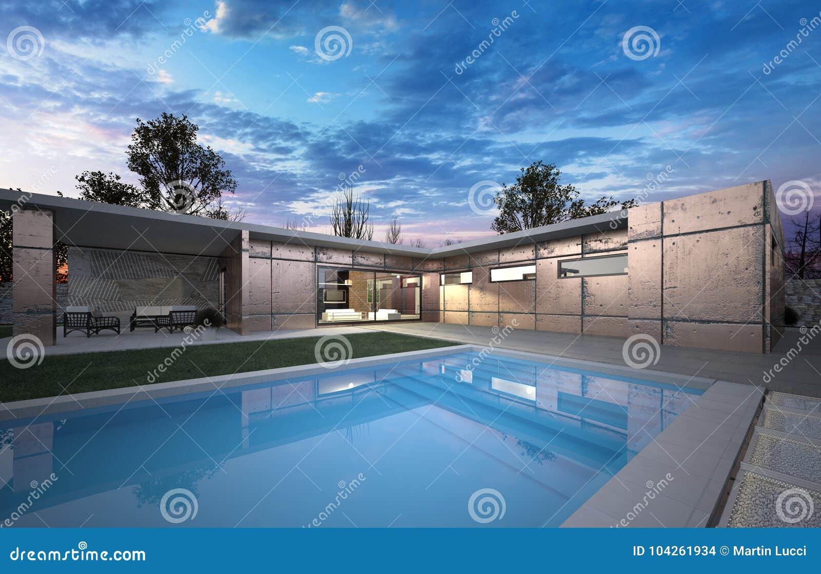 Luxury modern a big house with l shape and swim pool