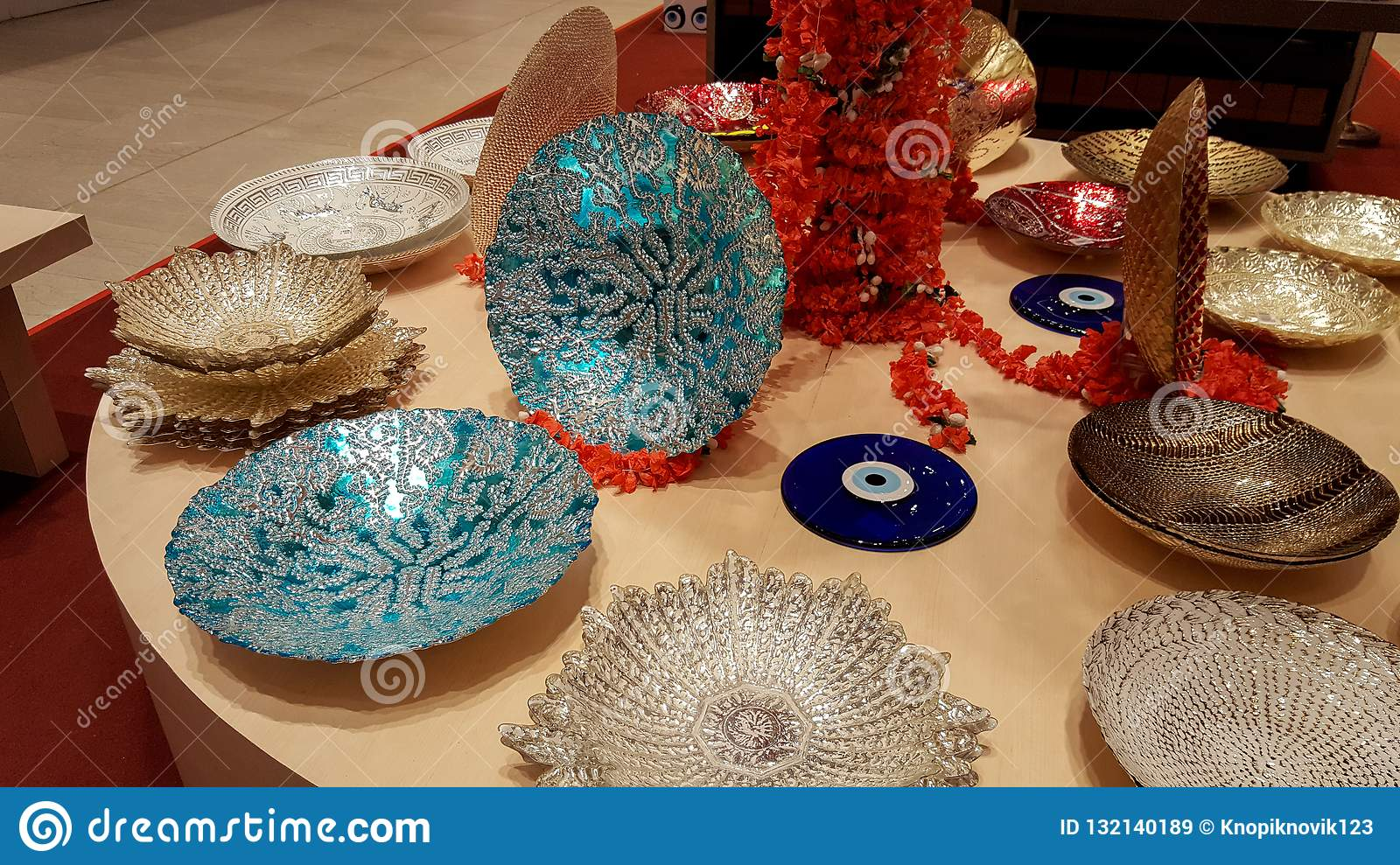 Luxury Modern Ceramic Plates On Display At A Shop Stock Image Image Of Beige Decoration 132140189