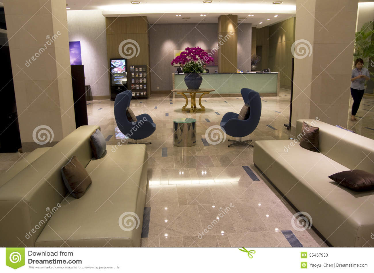Luxury Modern Hotel Lobby Furniture Editorial Image