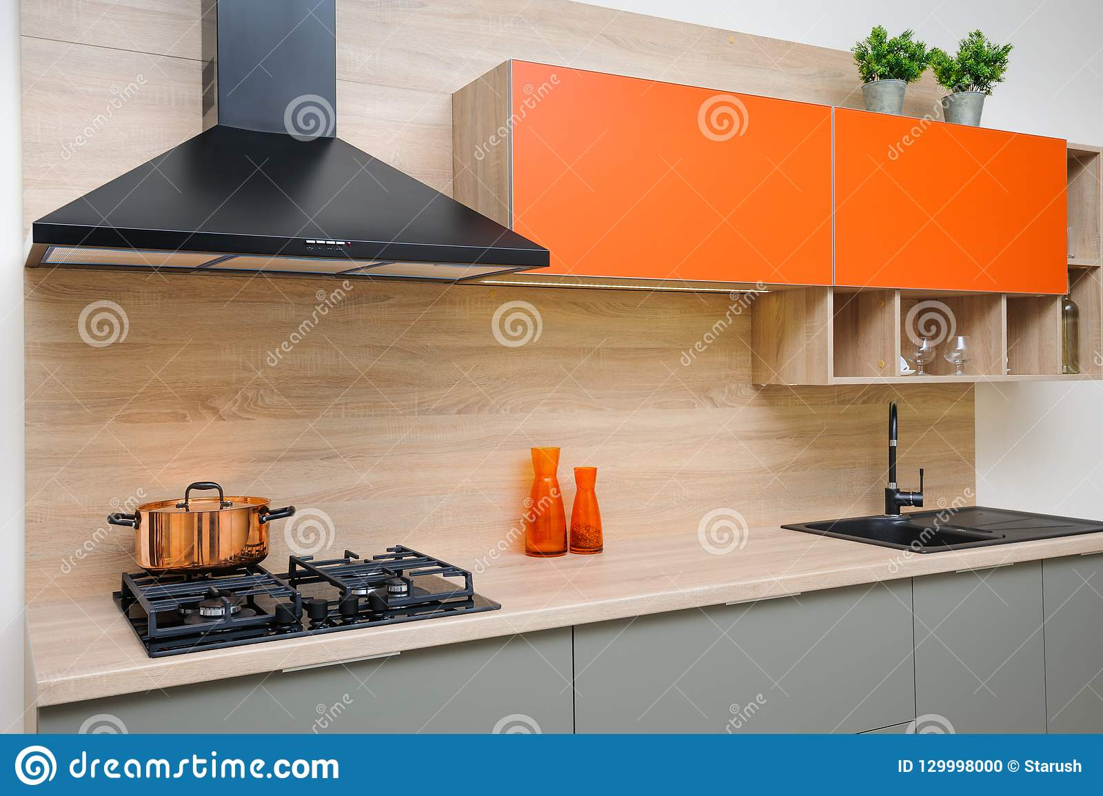 Luxury modern kitchen stock photo. Image of design, plants ...