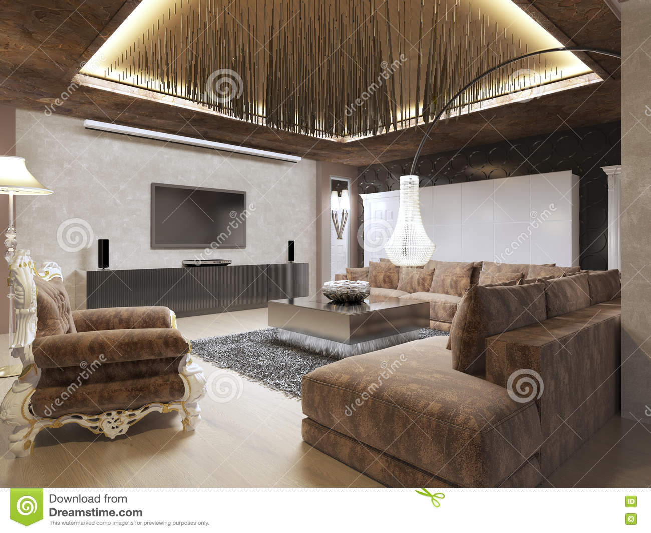 luxury modern living room done in the art deco style stock  - luxury modern living room done in the art deco style