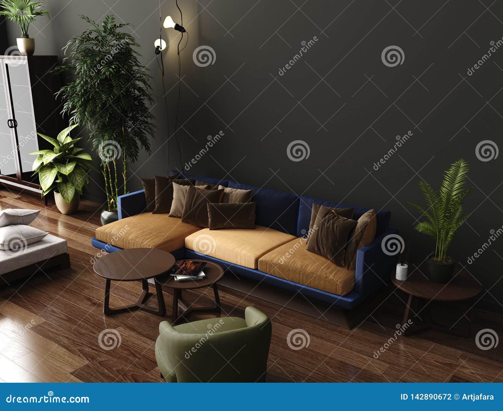 Luxury Modern Living Room Interior, Dark Green Brown Wall ...