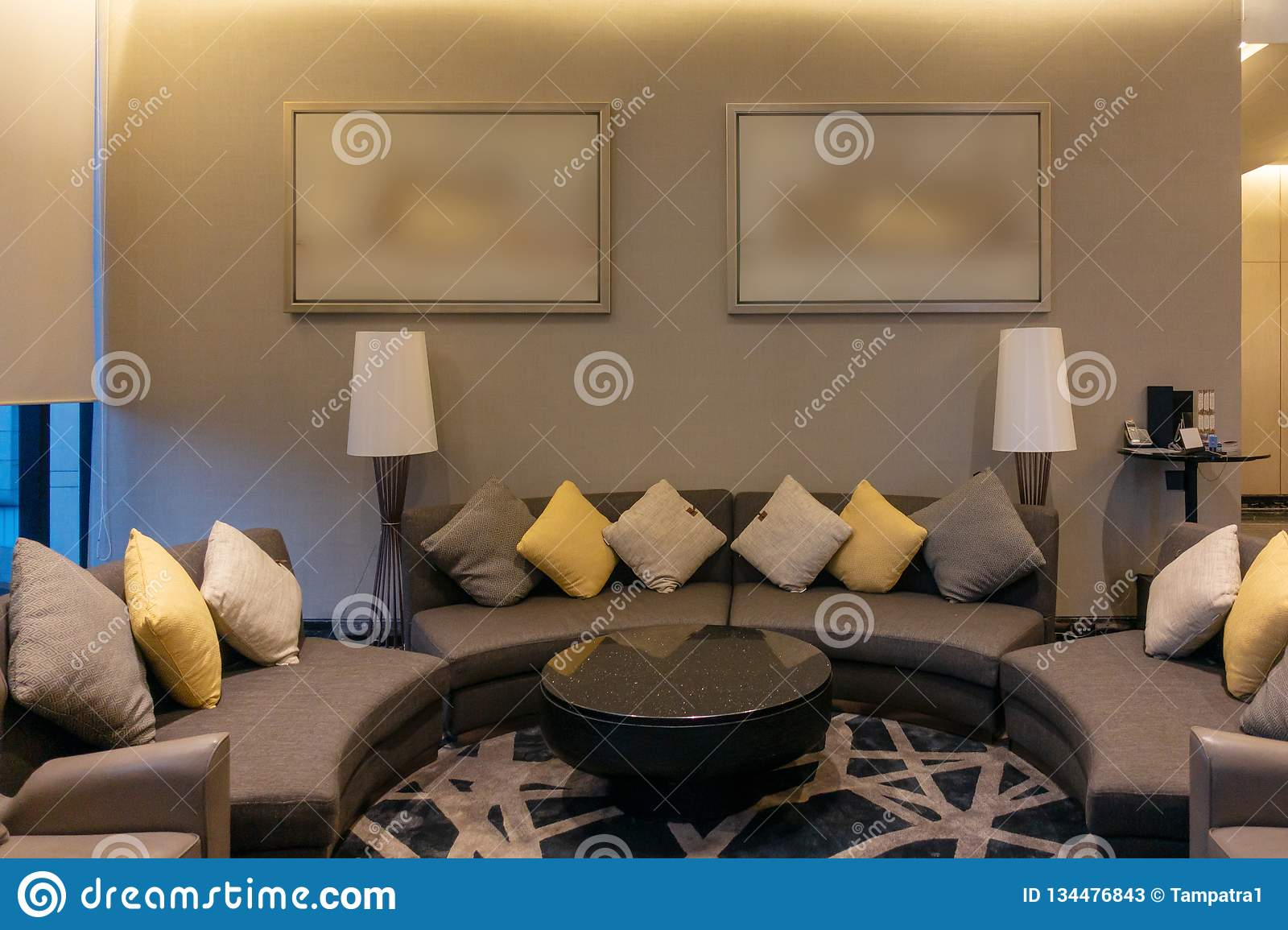 Luxury Modern Living Room With Pillows Furniture Picture Frame And Sofa Decoration At Night Home Interior Design Background Stock Image Image Of Lounge Living 134476843