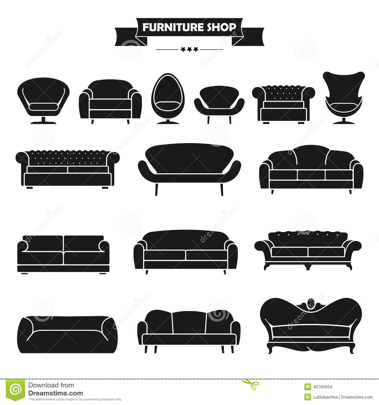 Luxury Modern Sofa And Couch Icons Set. Vintage Fu Stock Vector ...