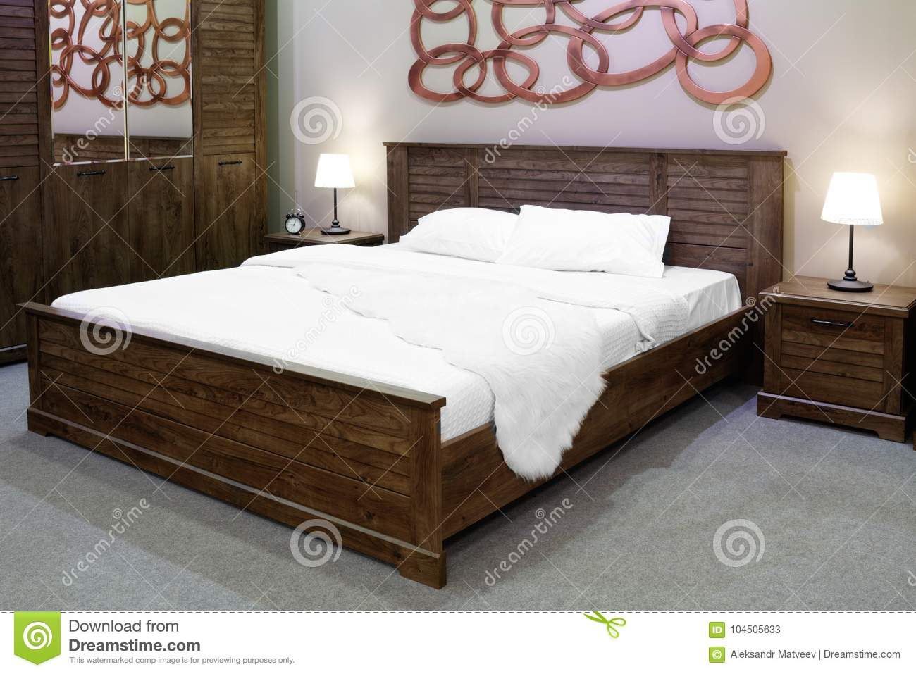 Luxury Modern And Wooden Rustic Style Bedroom In Brown And Beige Tones,  Interior Of A