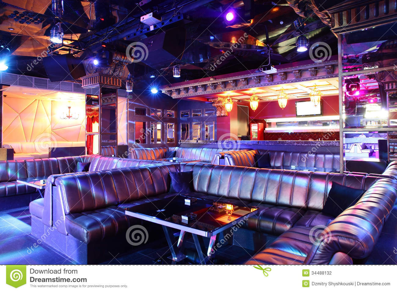 Luxury Night Club In European Style Stock Photography