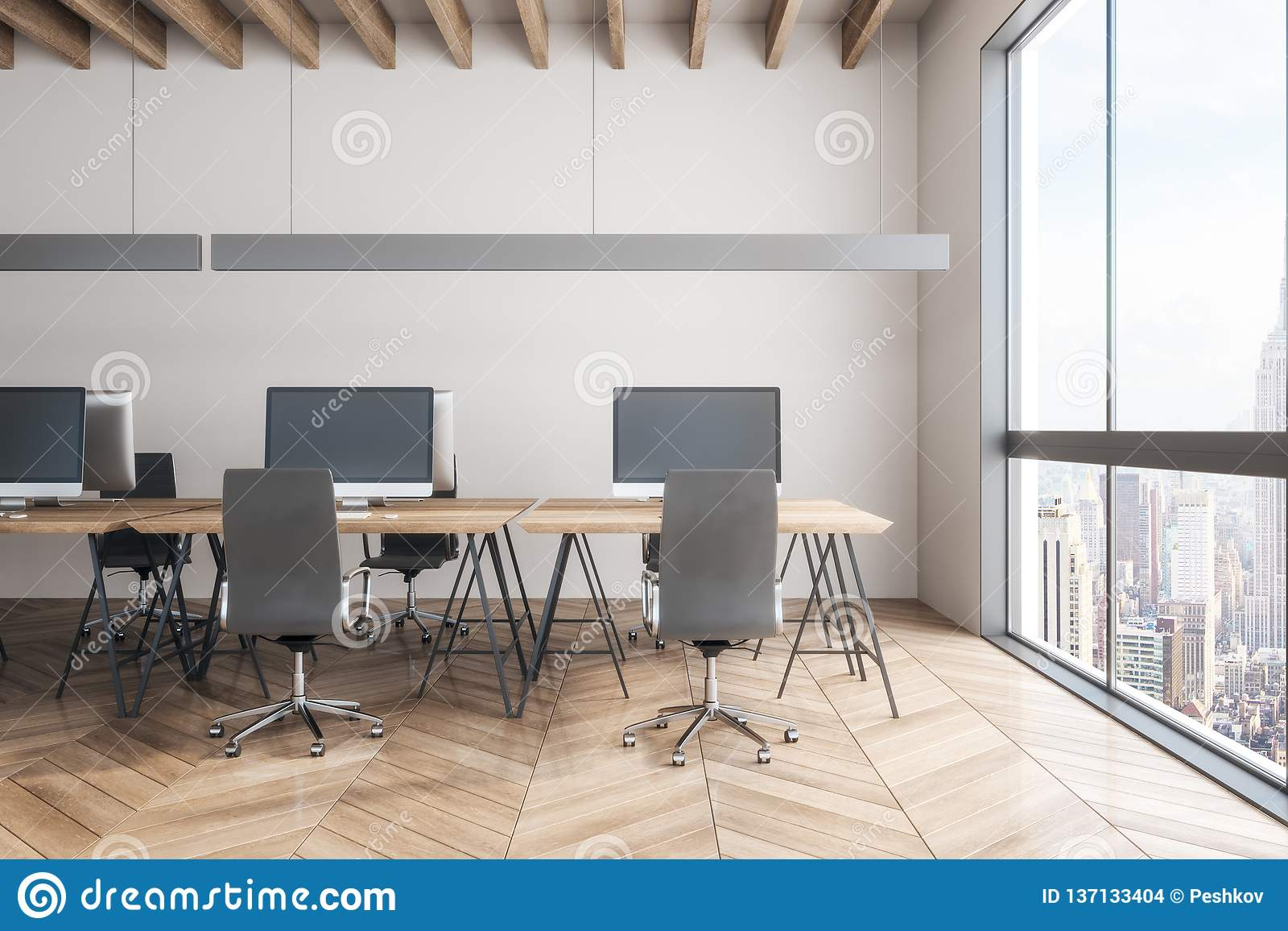 Luxury Office Interior With Ny View Stock Illustration Illustration Of Concept Daylight 137133404