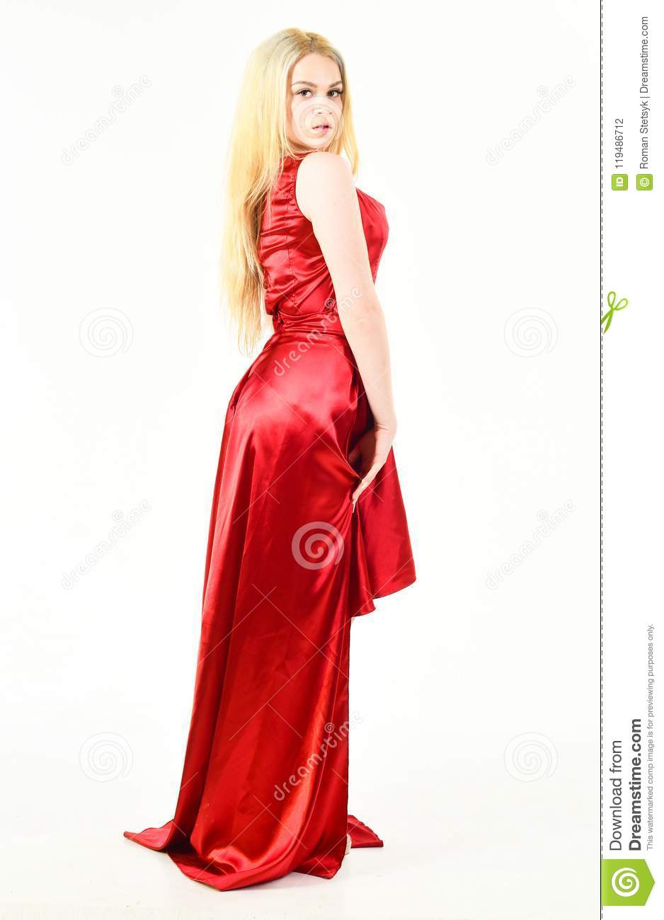 Luxury Outfit Concept. Lady Wears Fashionable Dress For Visiting ...