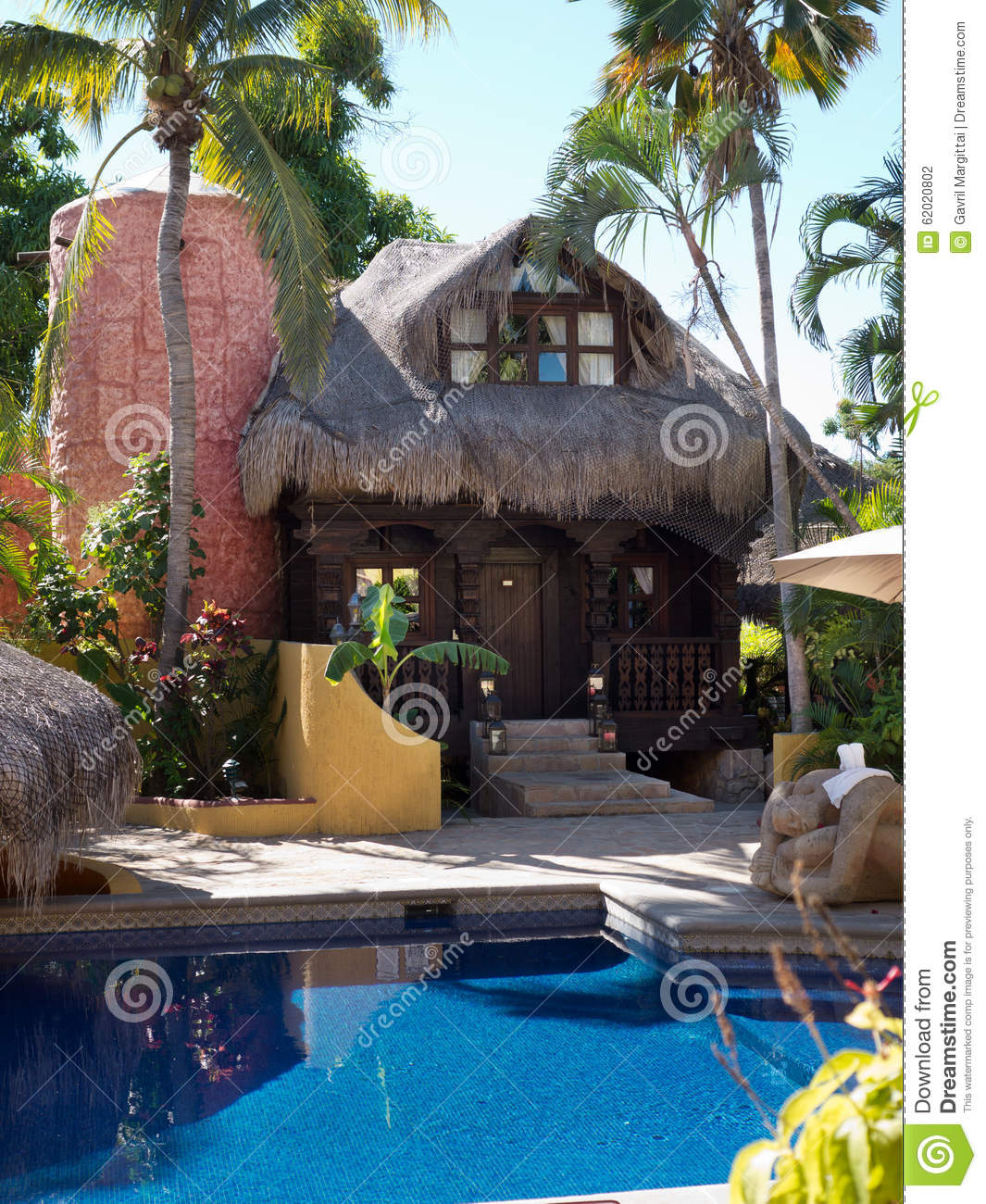 luxury palapa roof bungalow near pool stock photo image 62020802
