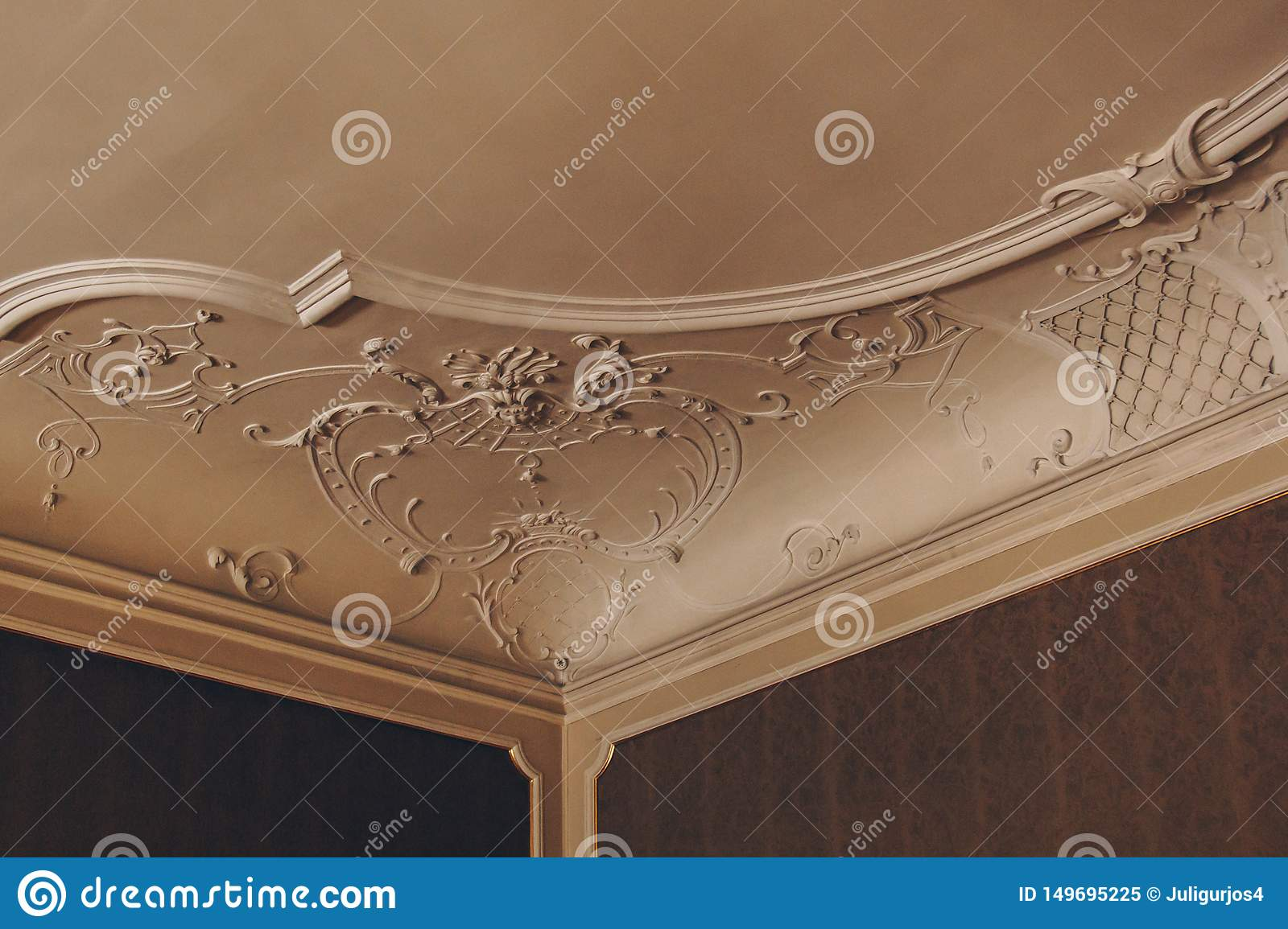 Luxury pattern stucco on the wall and ceiling. interior texture, background