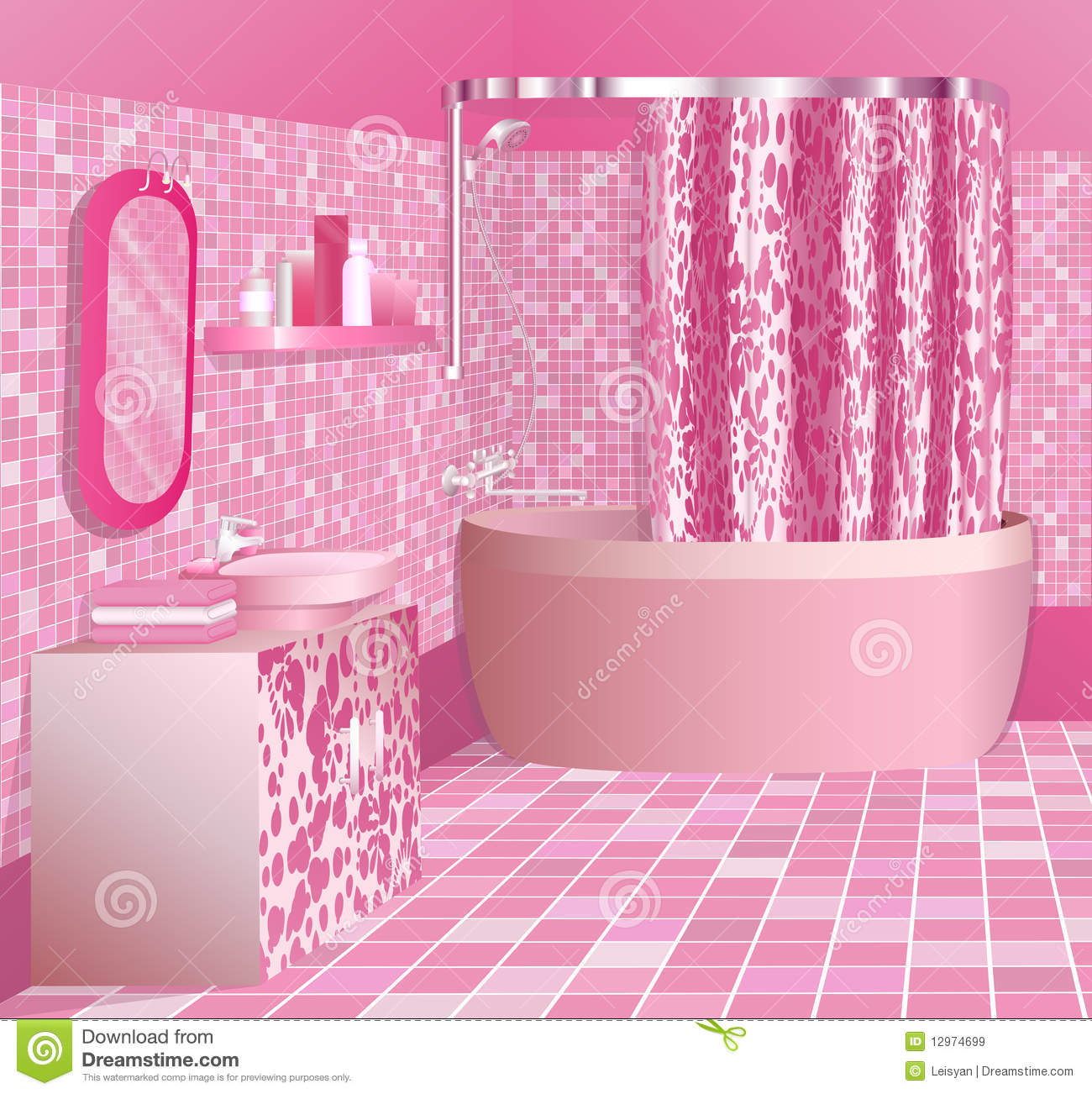 Luxury Pink Bathroom Stock Vector Illustration Of Glamour