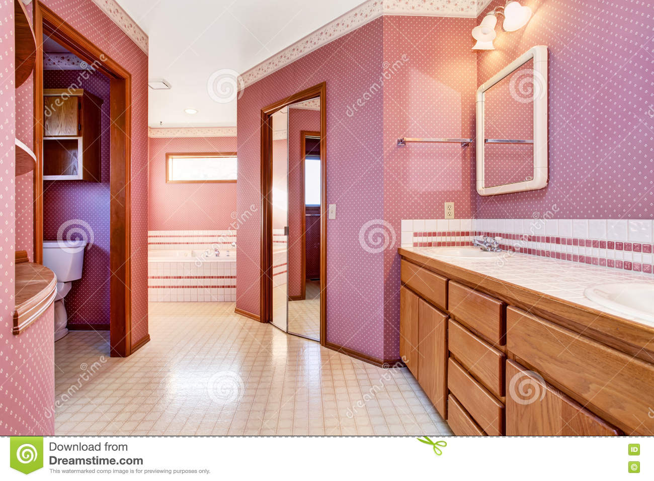 luxury pink bathroom interior design. stock photo - image: 74862995