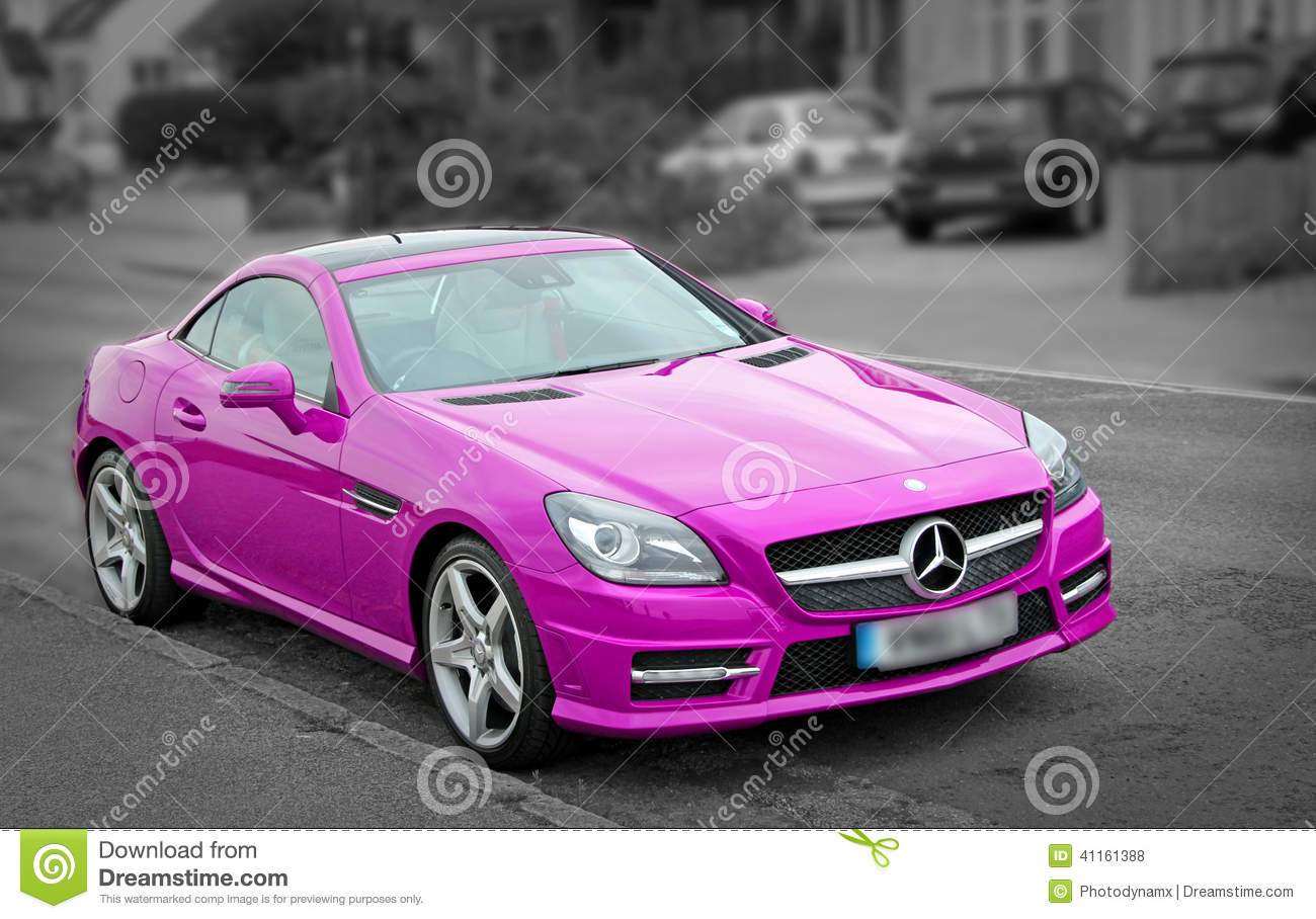 Luxury pink mercedes slk200 car editorial stock photo for Pink mercedes benz power wheels