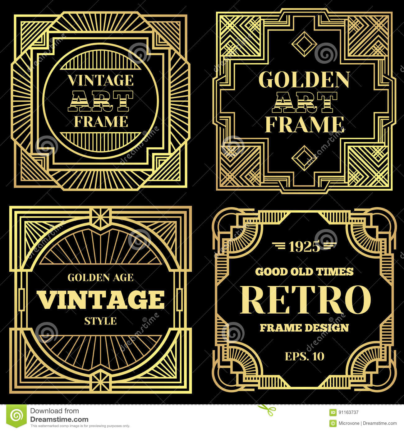 Luxury poster vector design with gold frames in art deco for Style retro deco