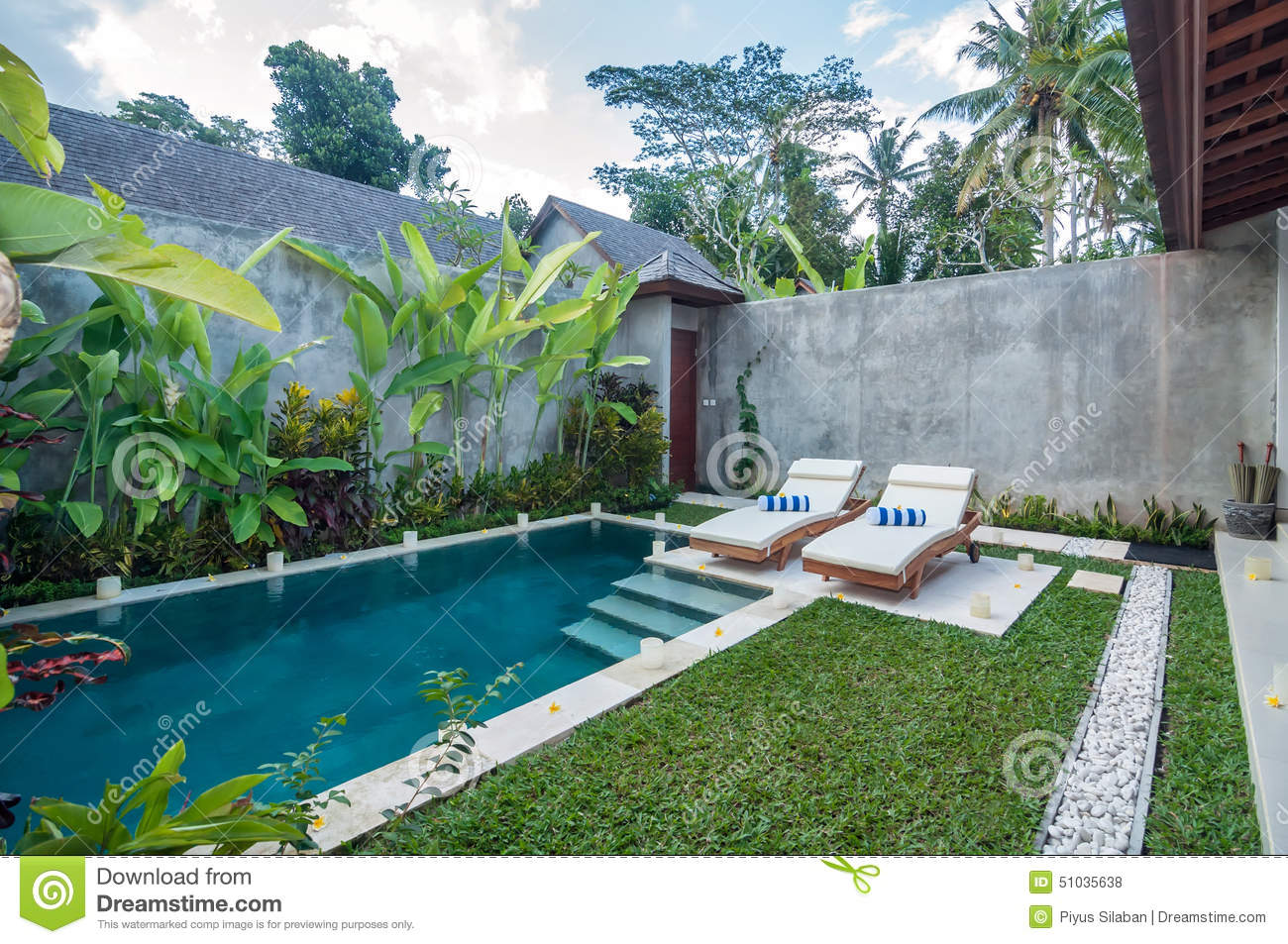 Modern villa outdoor with swimming pool and gazebo stock for Garden swimming pool b q