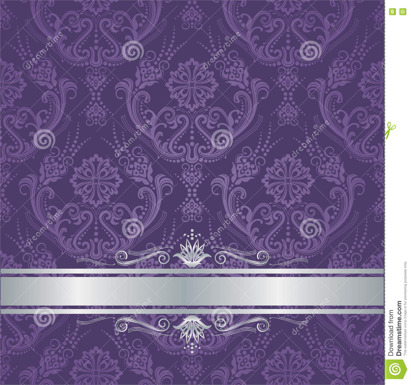 Luxury purple floral damask cover silver border stock for Purple and silver wallpaper
