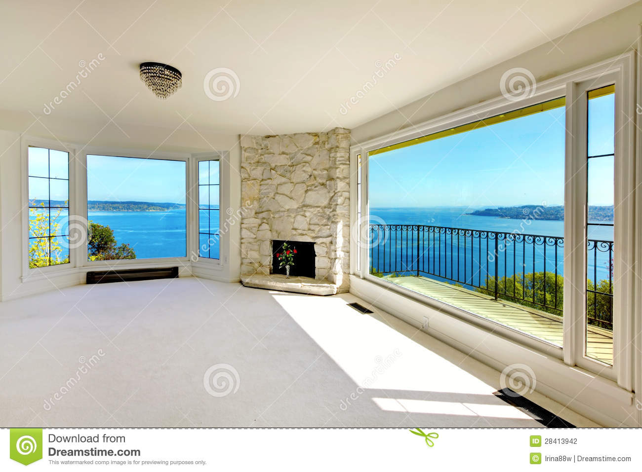 Luxury real estate bedroom with water view and fireplace for Luxury fireplaces luxury homes
