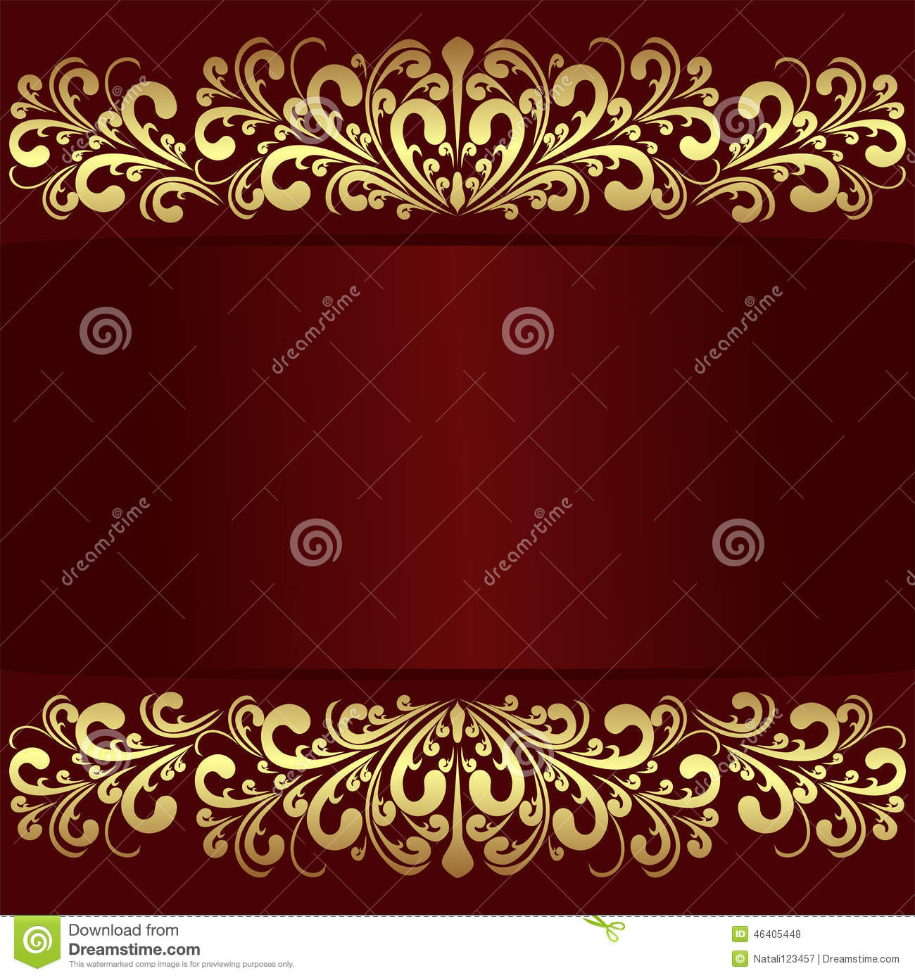 Royal Border Oriental Rug By Rug Culture: Luxury Red Background With Golden Royal Borders. Stock