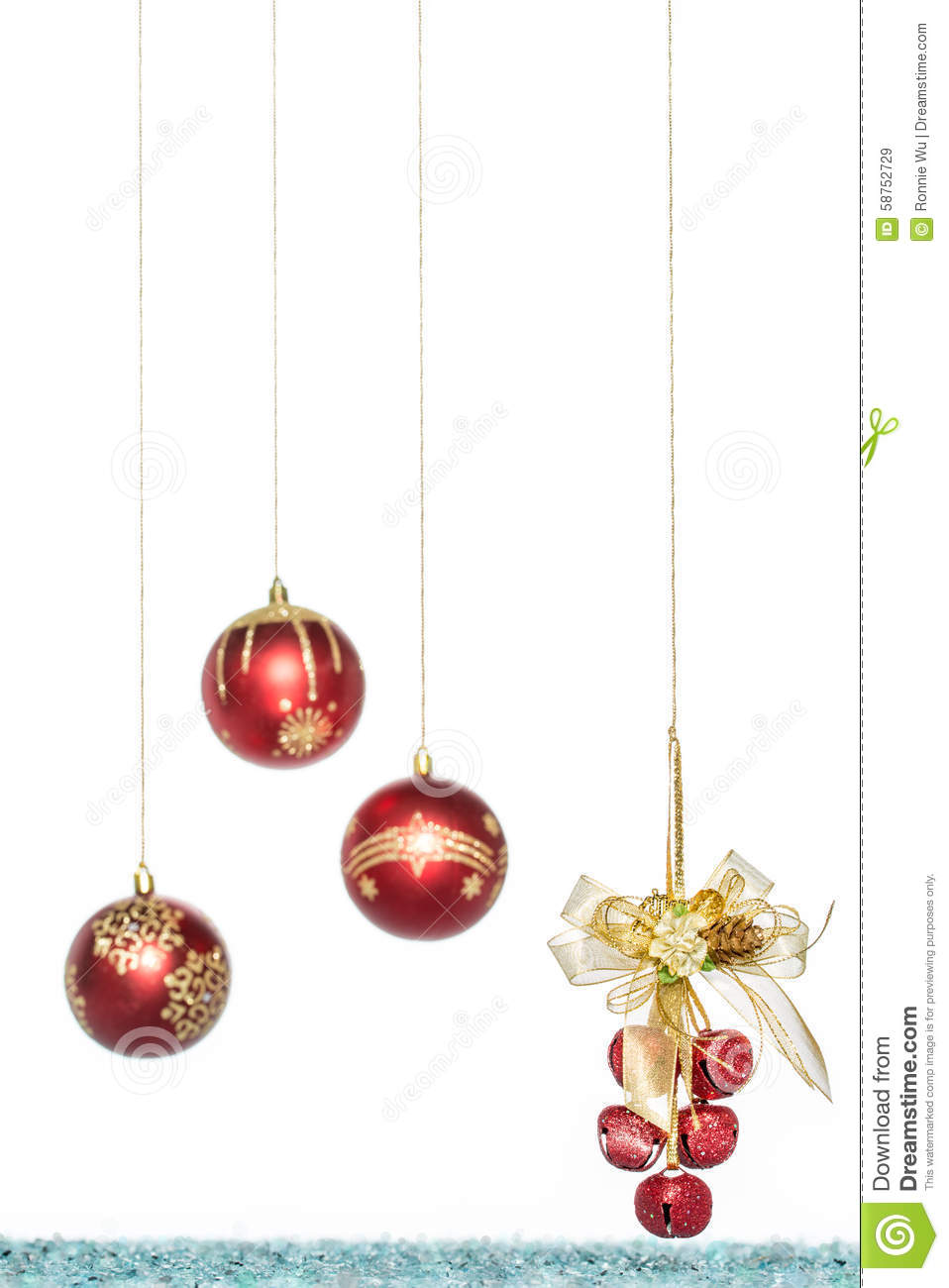 Luxury Red Christmas Ball With Jingle Bell Hanging