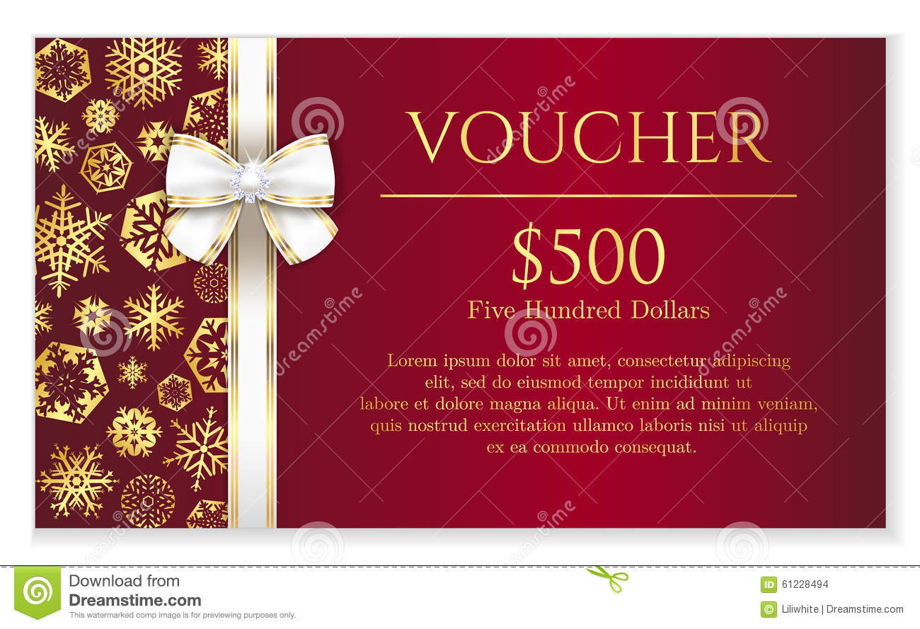 luxury red christmas voucher with golden snowflake stock
