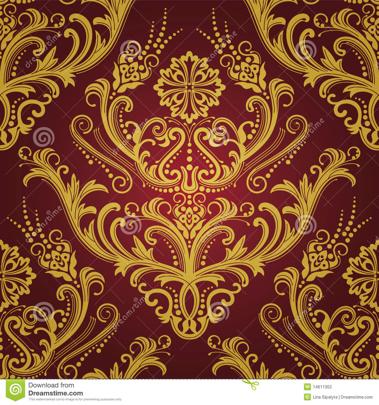 Luxury red & gold floral damask wallpaper vector illustration.