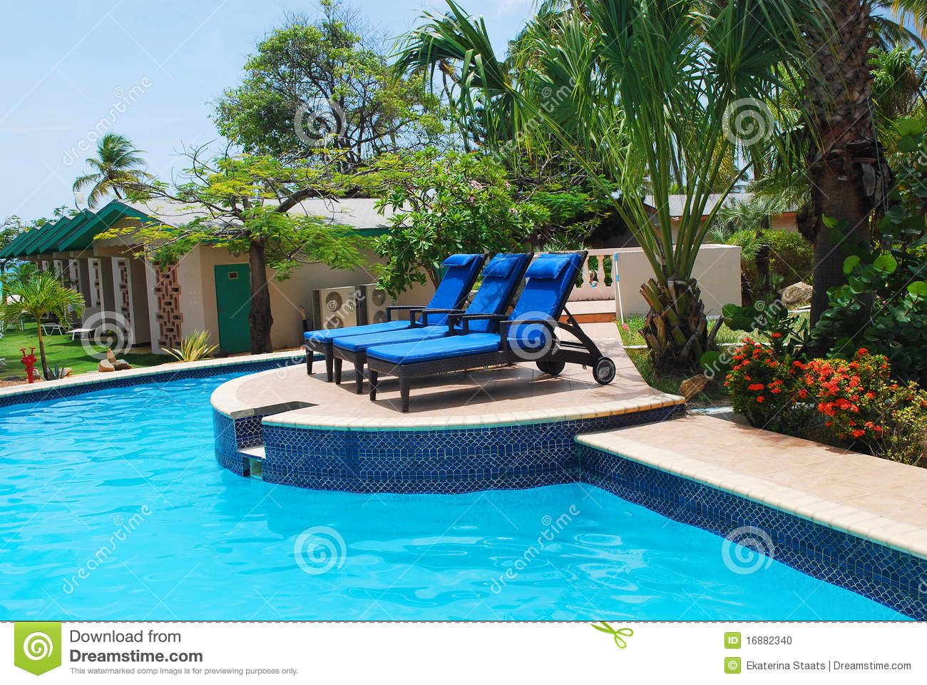 Luxury resort pool and hotel garden in aruba stock photo for Pool garden resort argao