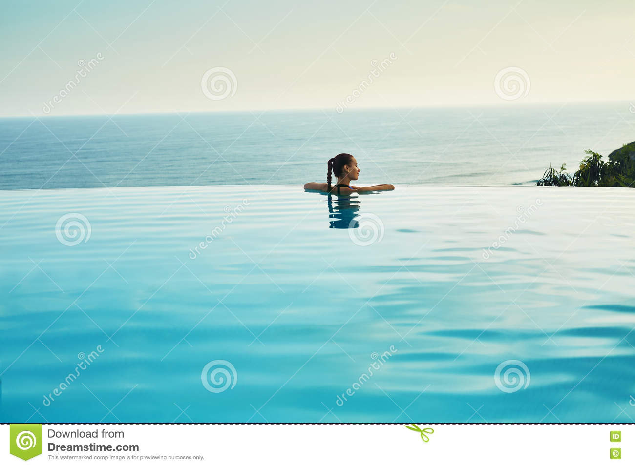 Luxury Resort Woman Relaxing In Pool Summer Travel Vacation Stock Image Image 72884097