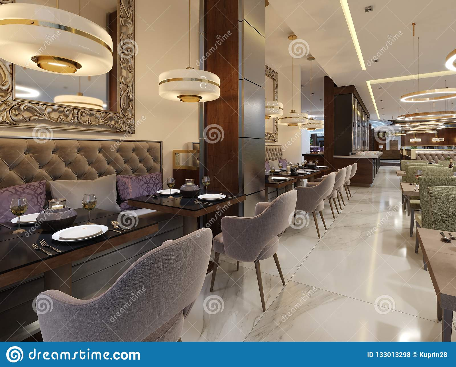 Luxury restaurant in contemporary style with exquisite modern furniture and designer listroy with hidden lighting brand interior design of the restaurant