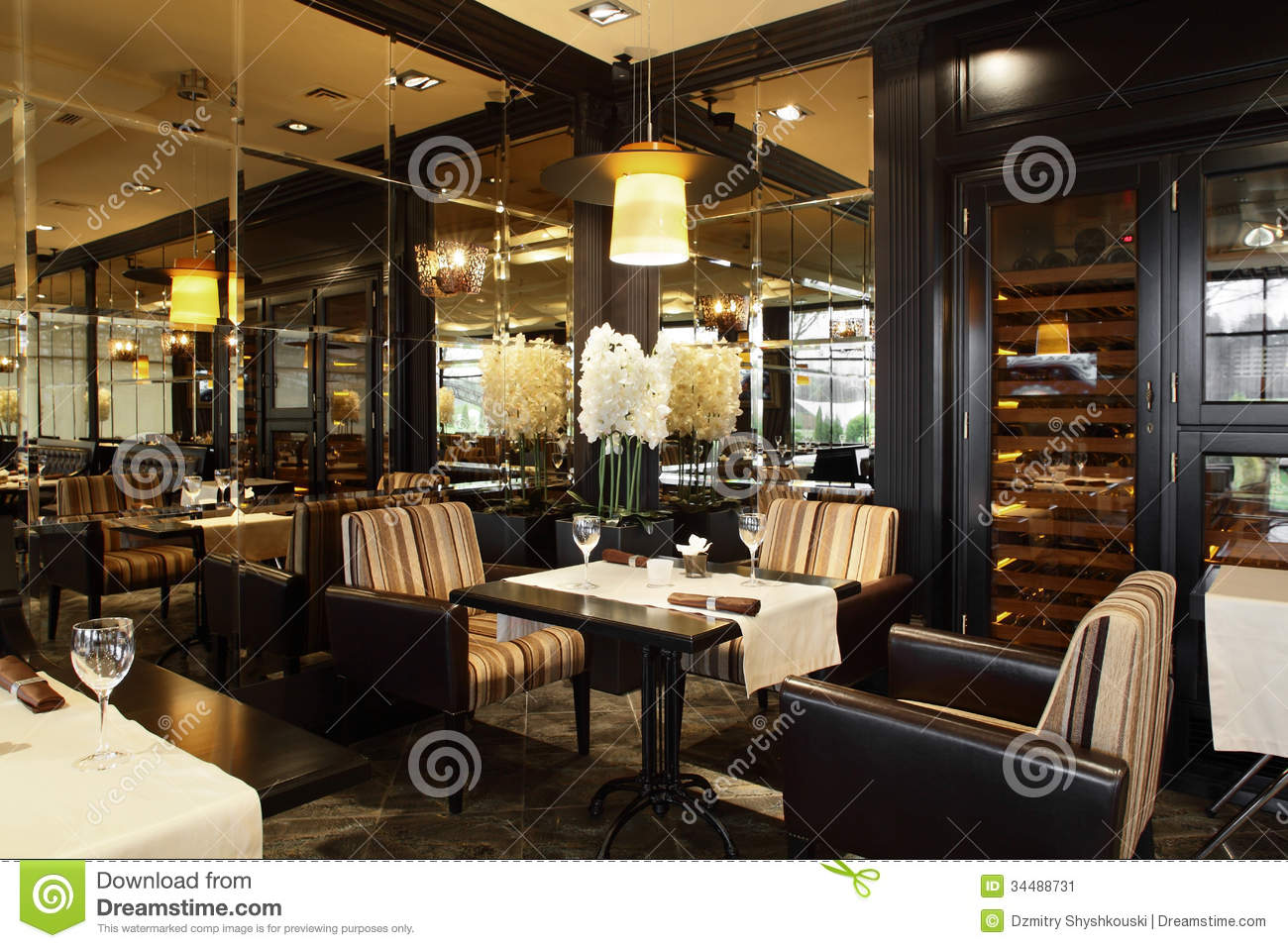 luxury restaurant in european style stock image image 34488731. Black Bedroom Furniture Sets. Home Design Ideas