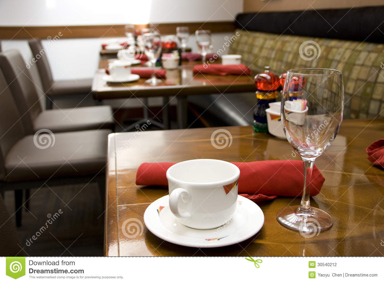 Luxury Restaurant With Nice Table Settings Stock