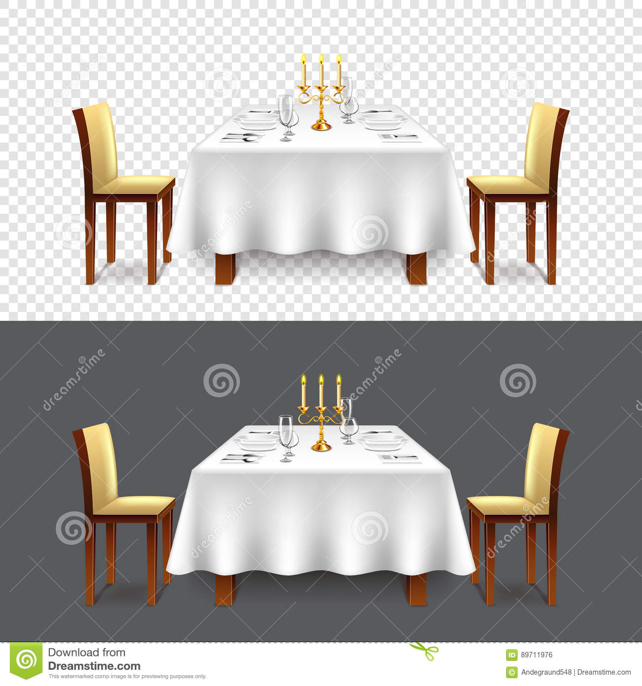 Restaurant table for two - Realistic Restaurant Table Two