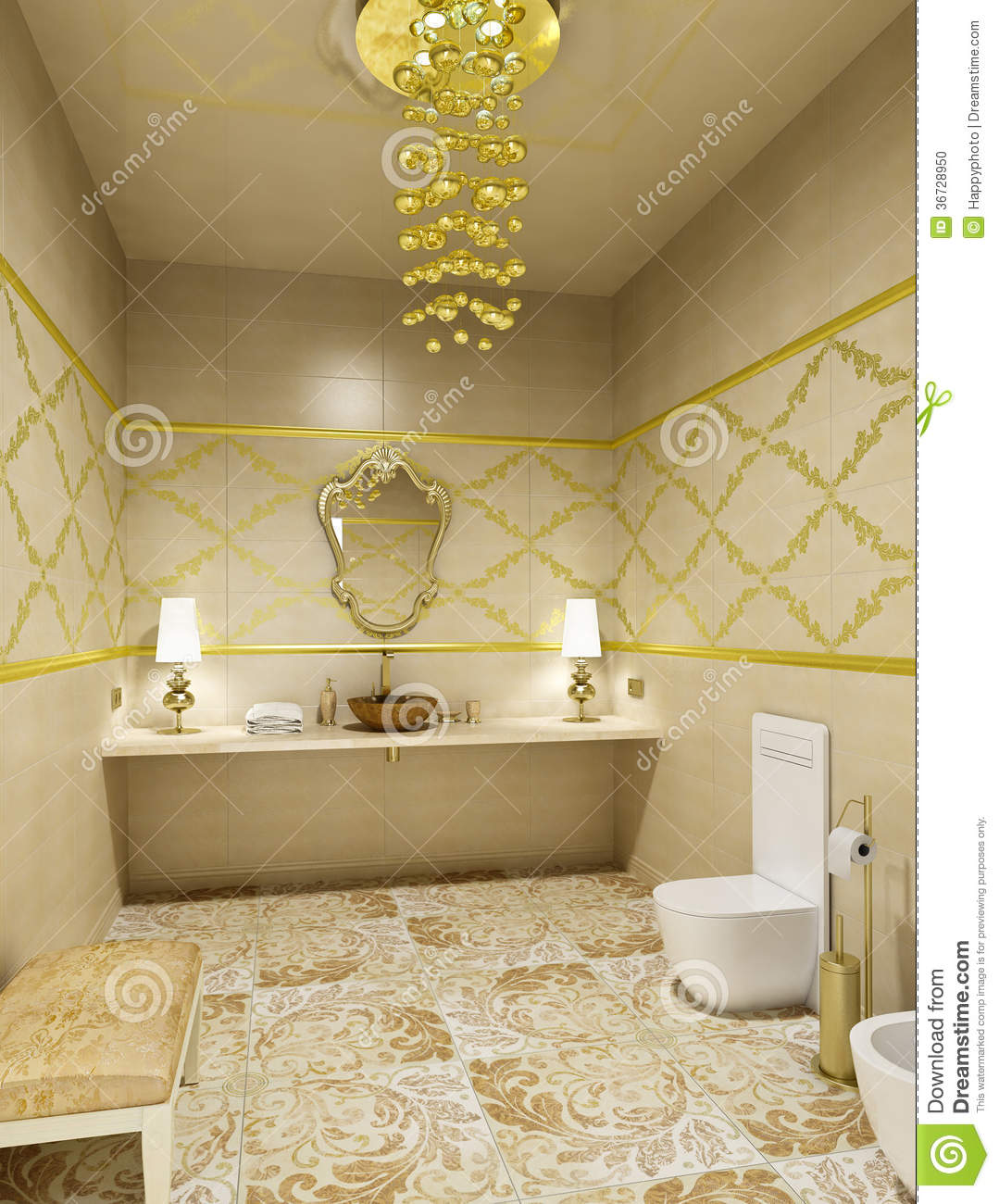 luxury restroom interior stock illustration illustration. Black Bedroom Furniture Sets. Home Design Ideas