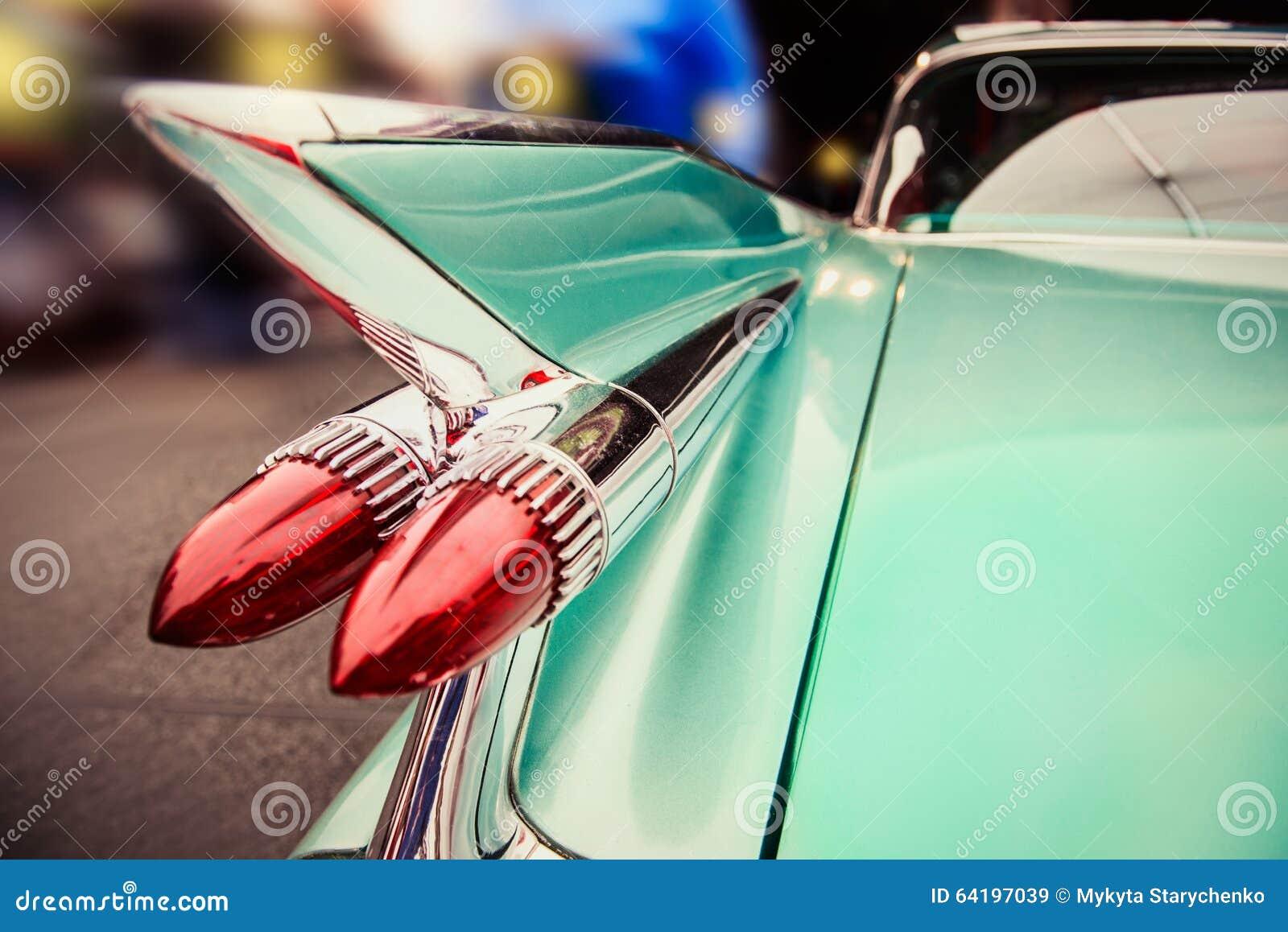 Luxury retro car driving in Las Vegas night city street