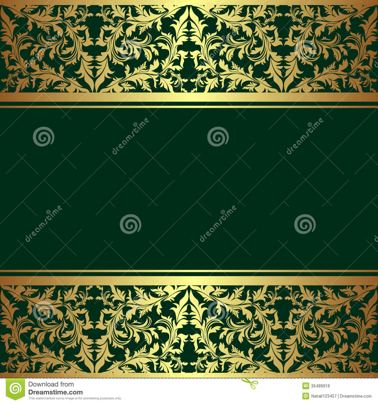 Frame design for wedding invitation vector border in victorian style - Luxury Rifle Green Background With Golden Borders Royalty