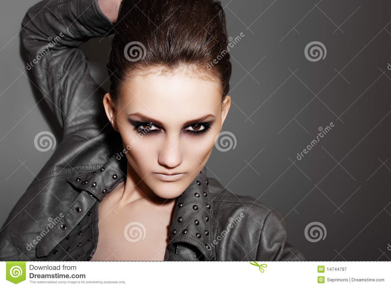 Luxury Rock Woman With Fashion Evening Make up Royalty