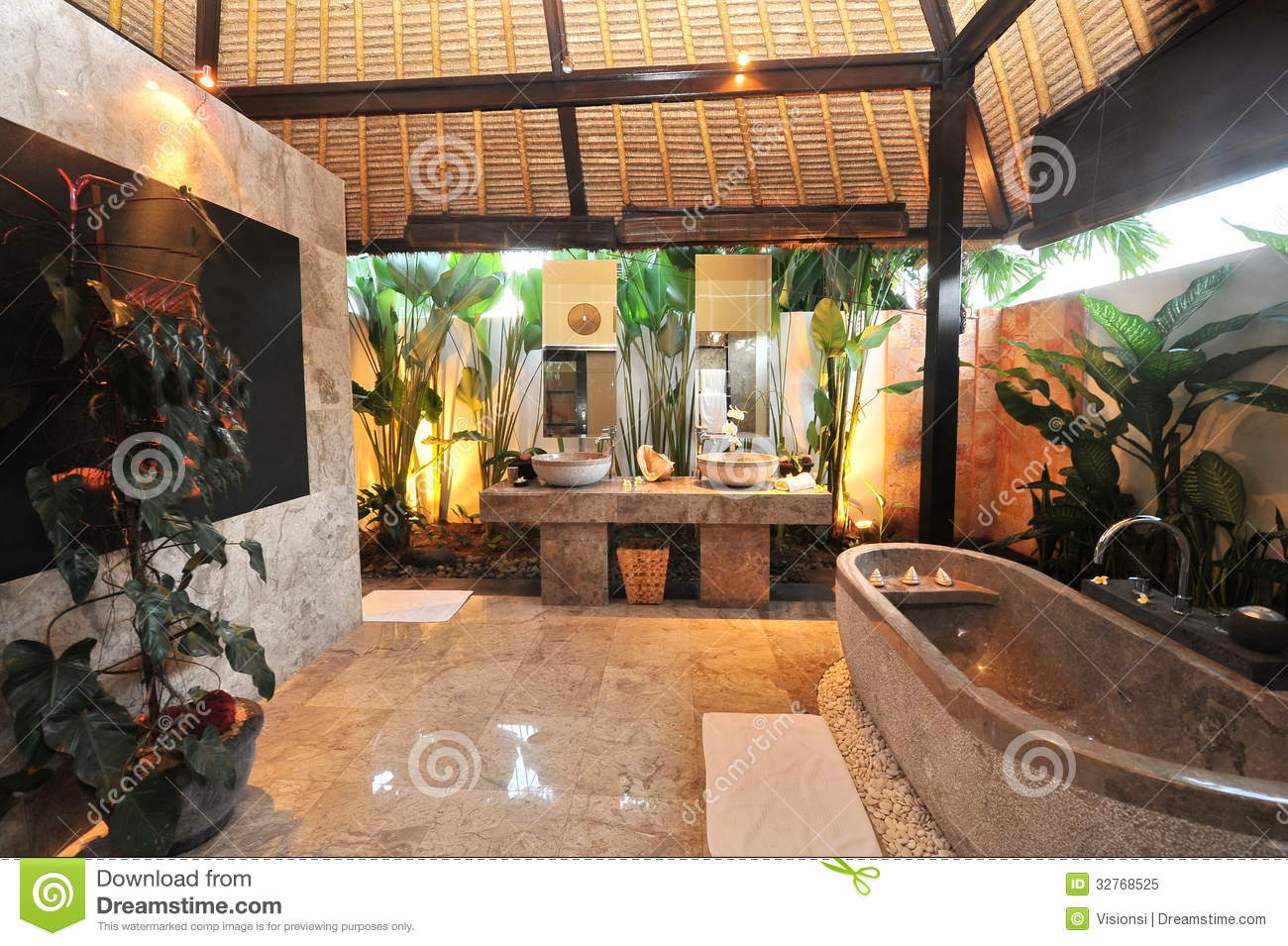 Luxury Room Bathroom In A Tropical Villa Stock Image