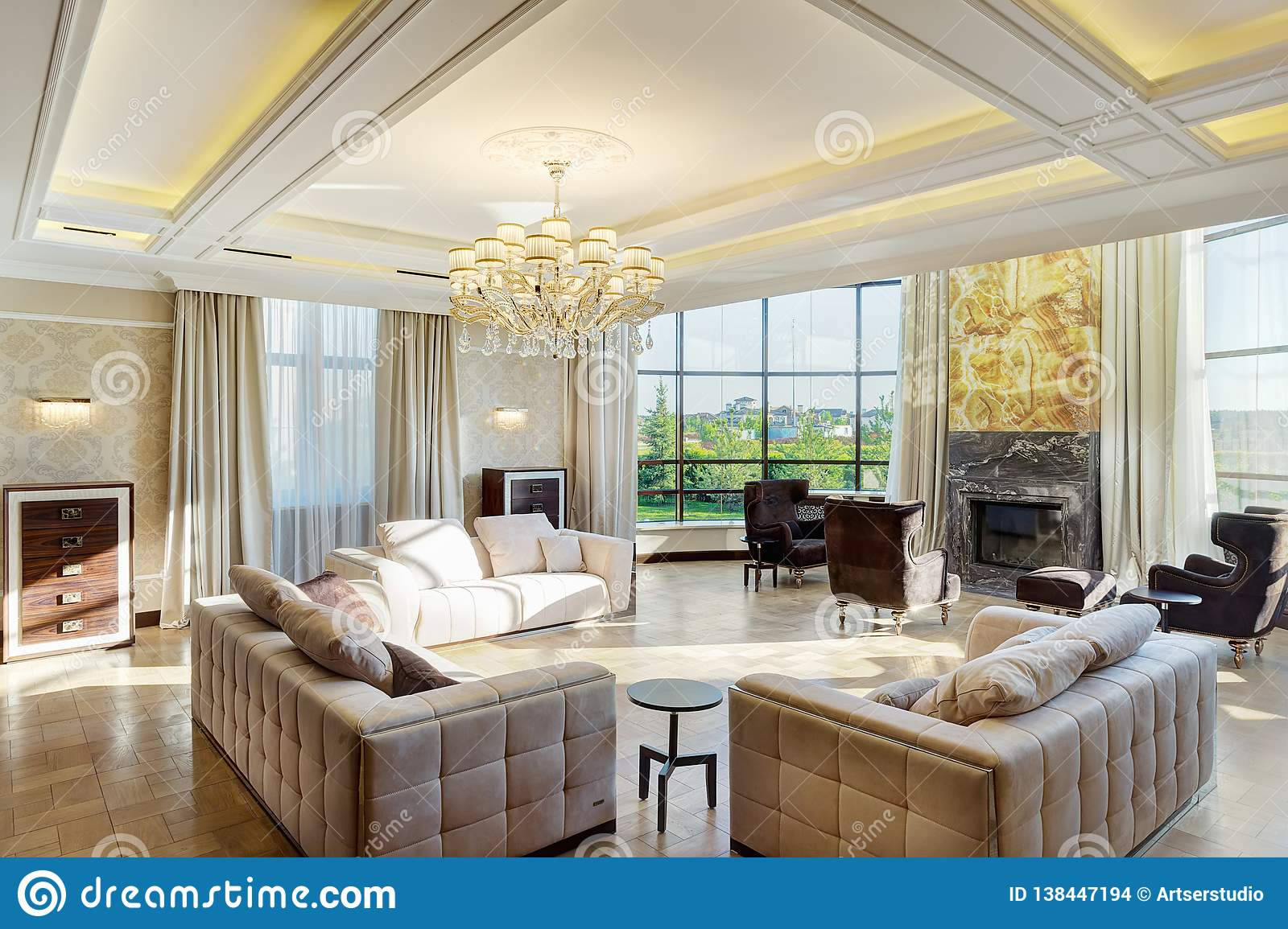 Luxury Room With Big Windows And Crystal Chandelier Stock Photo Image Of Crystal Home 138447194